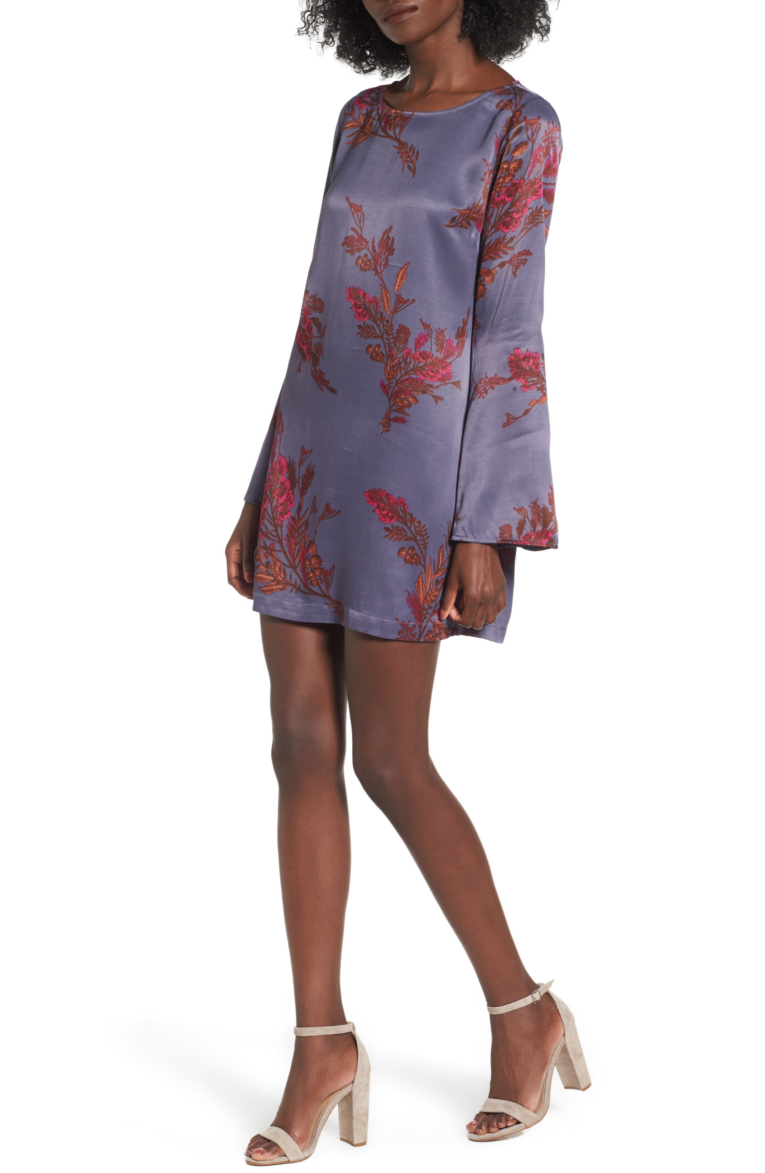 Bell Sleeve Shift Dress,                         Main,                         color, Navy India Ink Whispy Floral