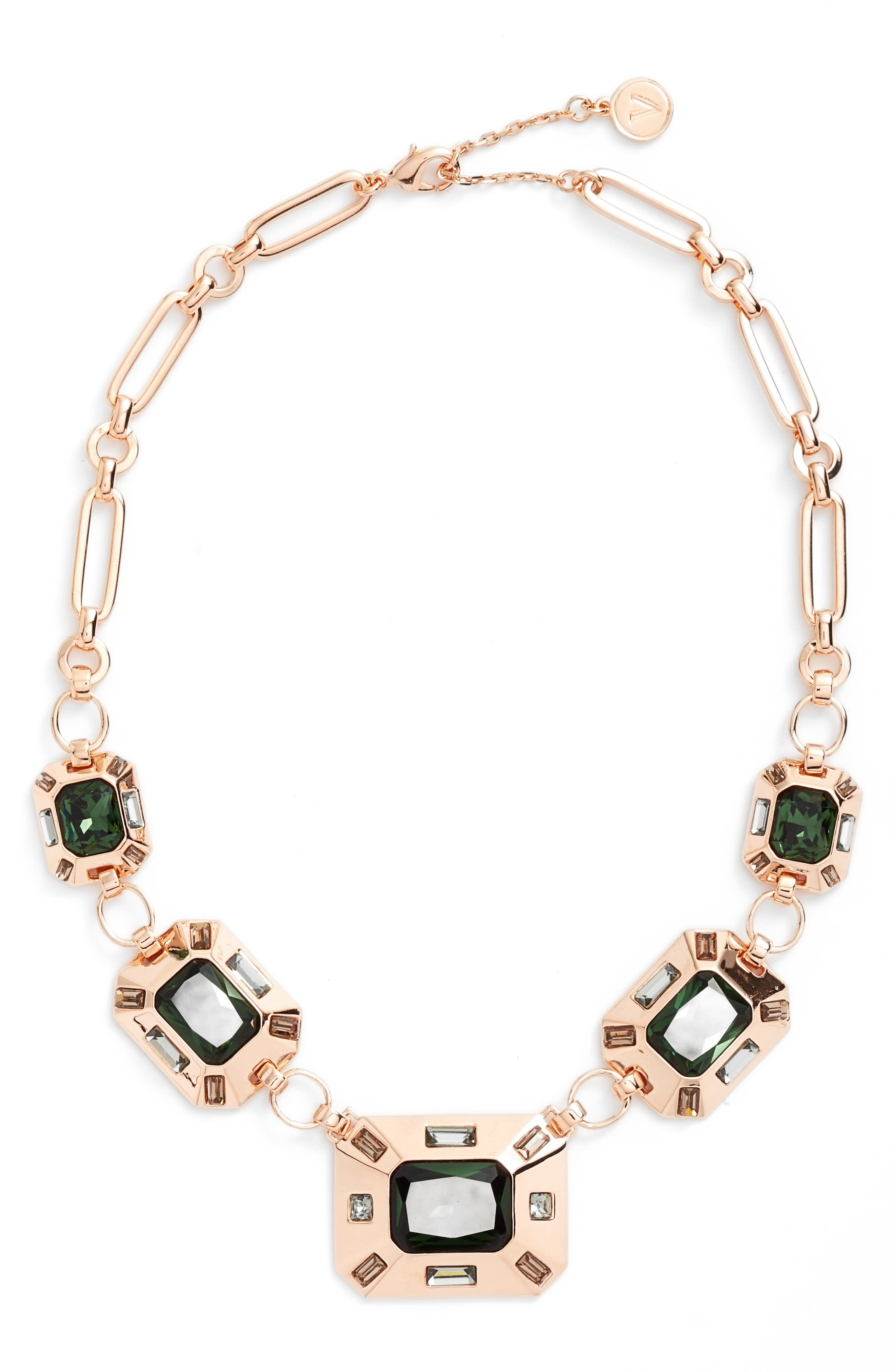 Frontal Necklace,                             Main thumbnail 1, color,                             Burnt Rose Gold
