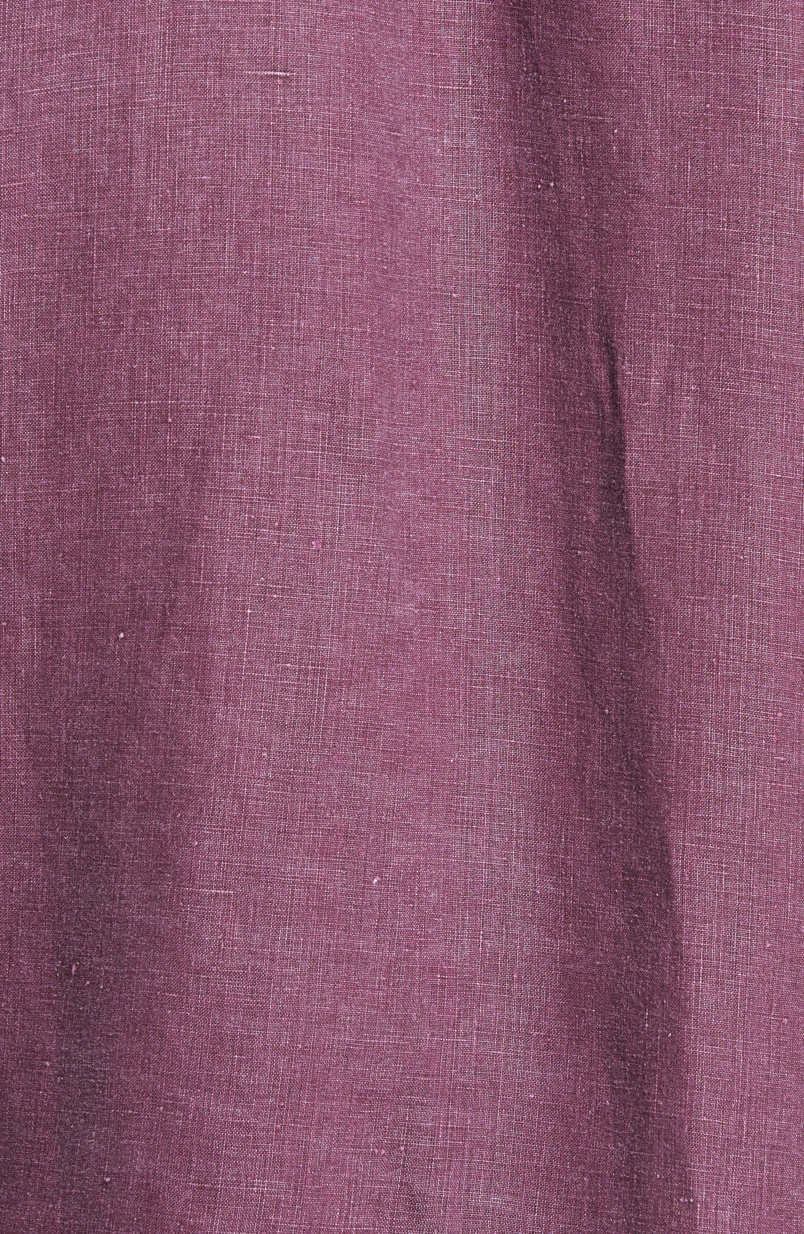Sea Glass Breezer Linen Sport Shirt,                             Alternate thumbnail 5, color,                             Grape Wine