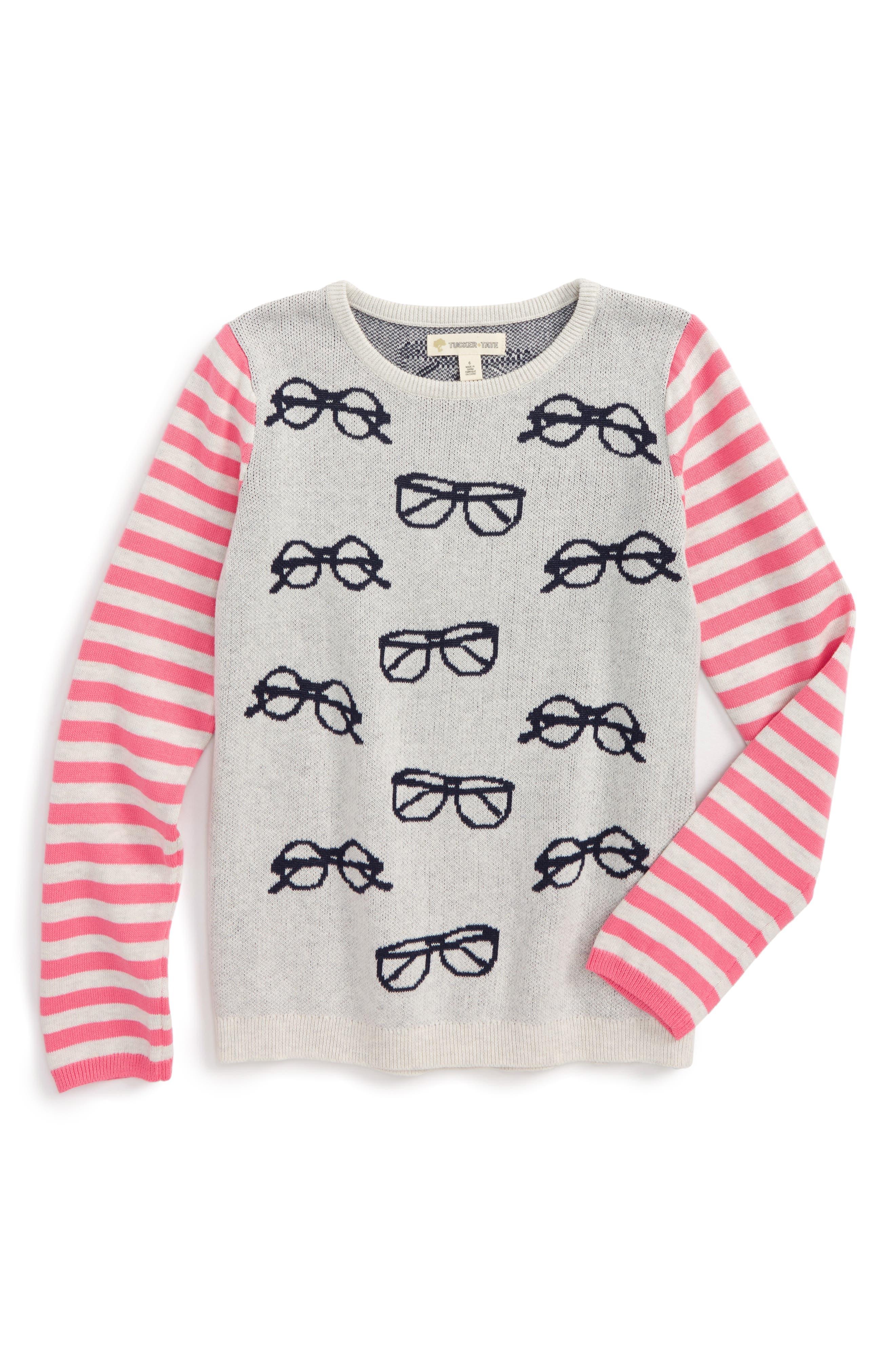 Alternate Image 1 Selected - Tucker + Tate Print Sweater (Toddler Girls, Little Girls & Big Girls)