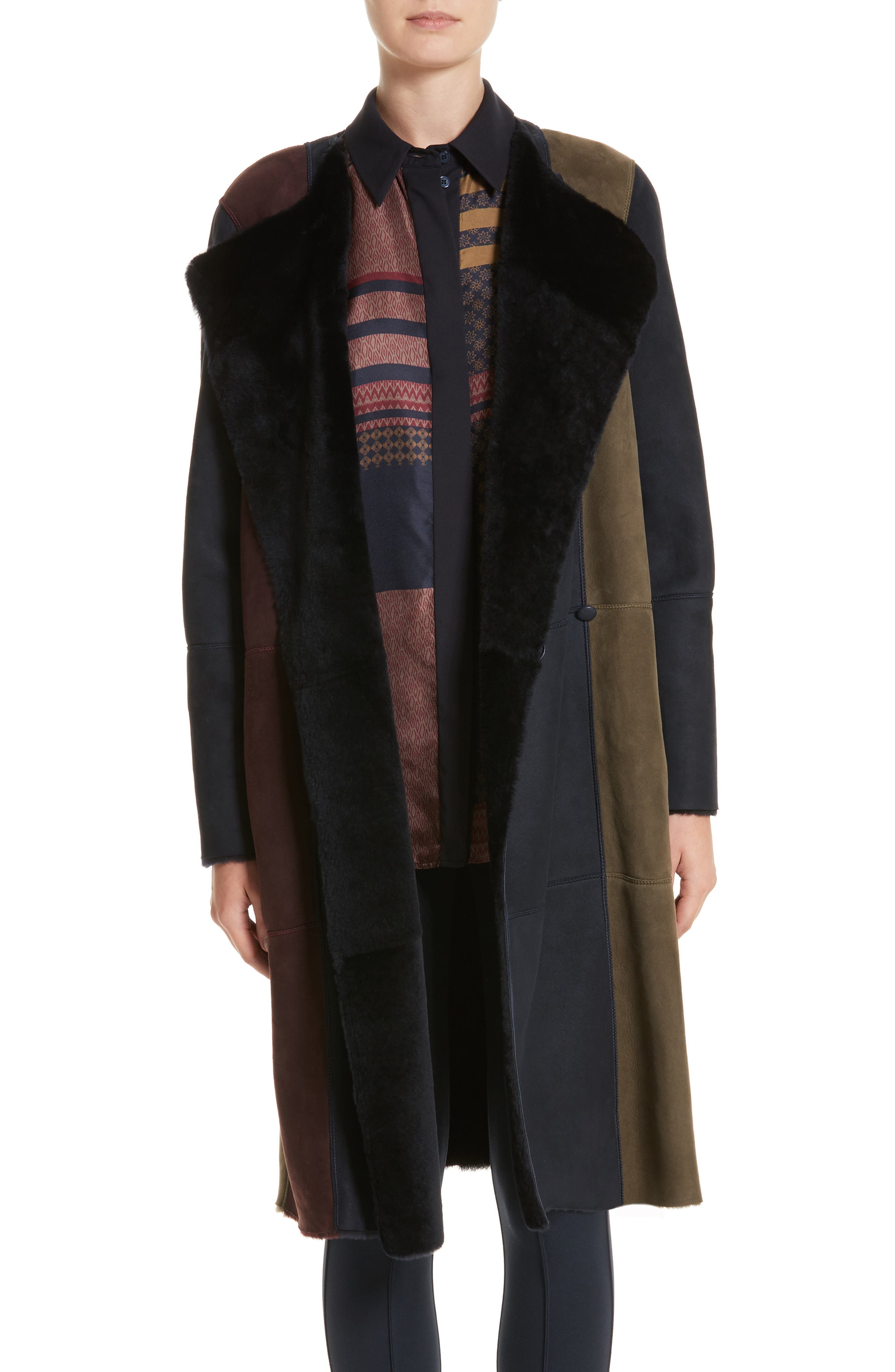 Main Image - Lafayette 148 New York Robyn Reversible Genuine Shearling Coat