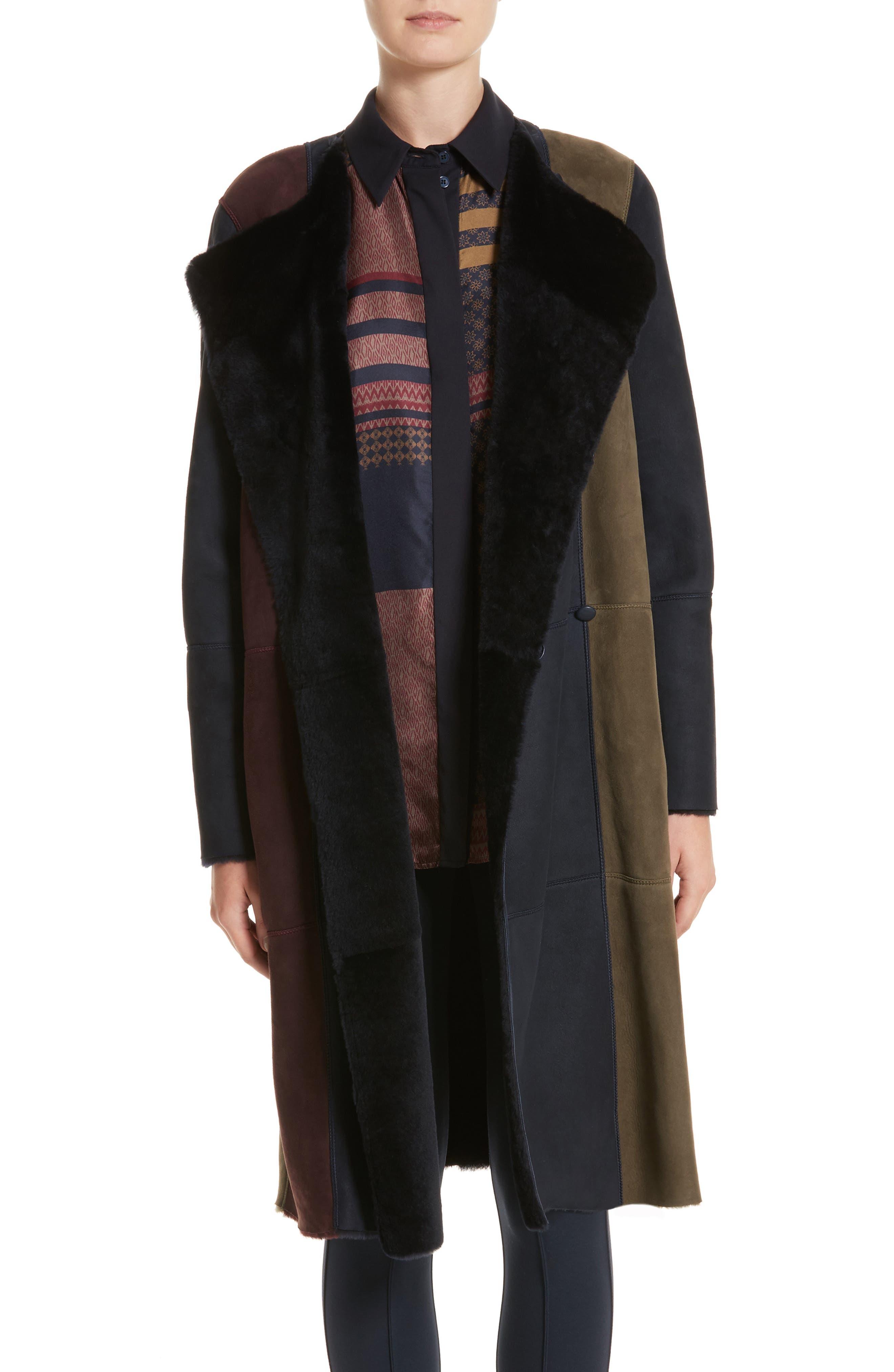 Robyn Reversible Genuine Shearling Coat,                         Main,                         color, Ink Multi