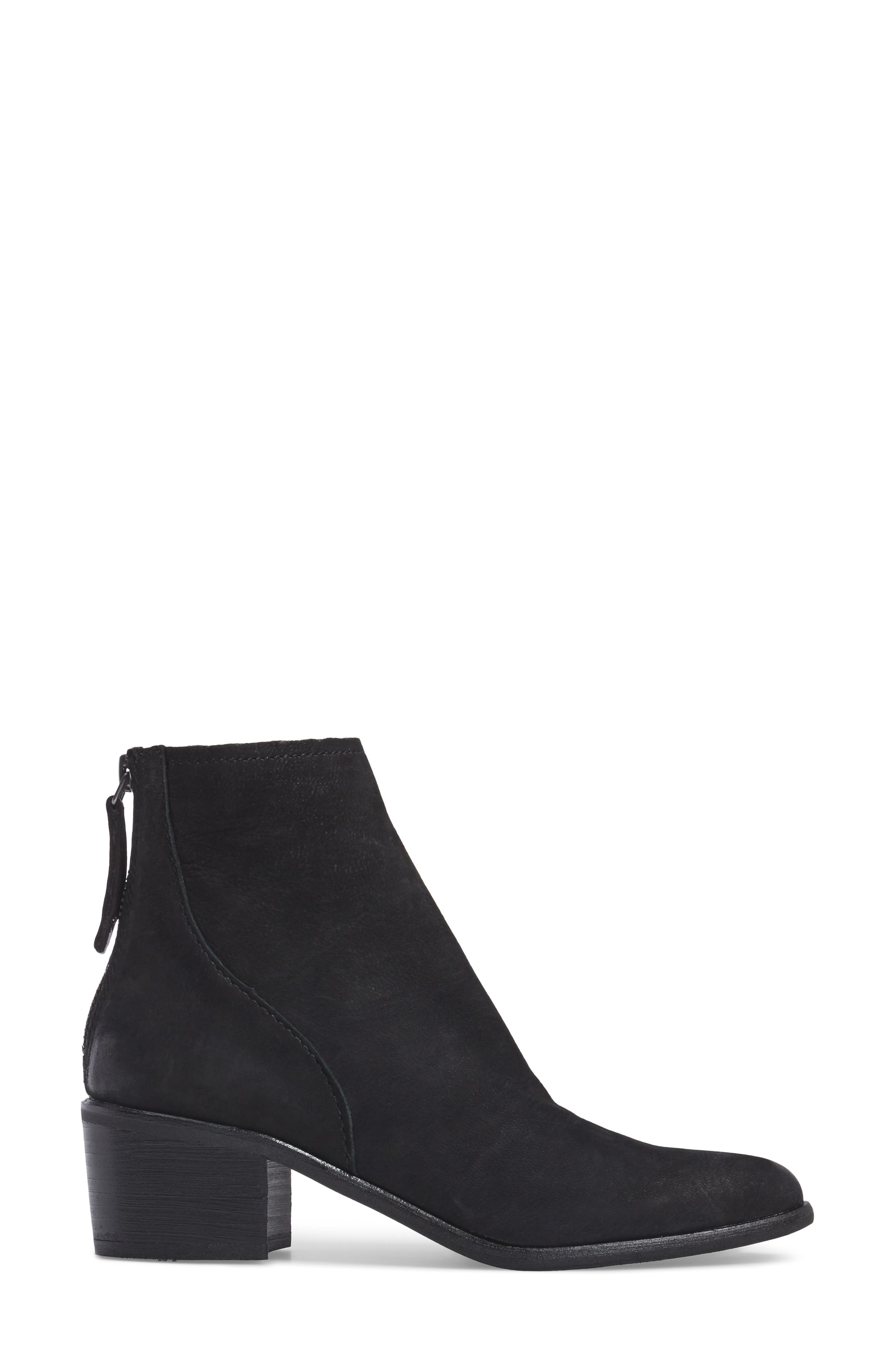 Cassius Block Heel Bootie,                             Alternate thumbnail 3, color,                             Black Nubuck Leather