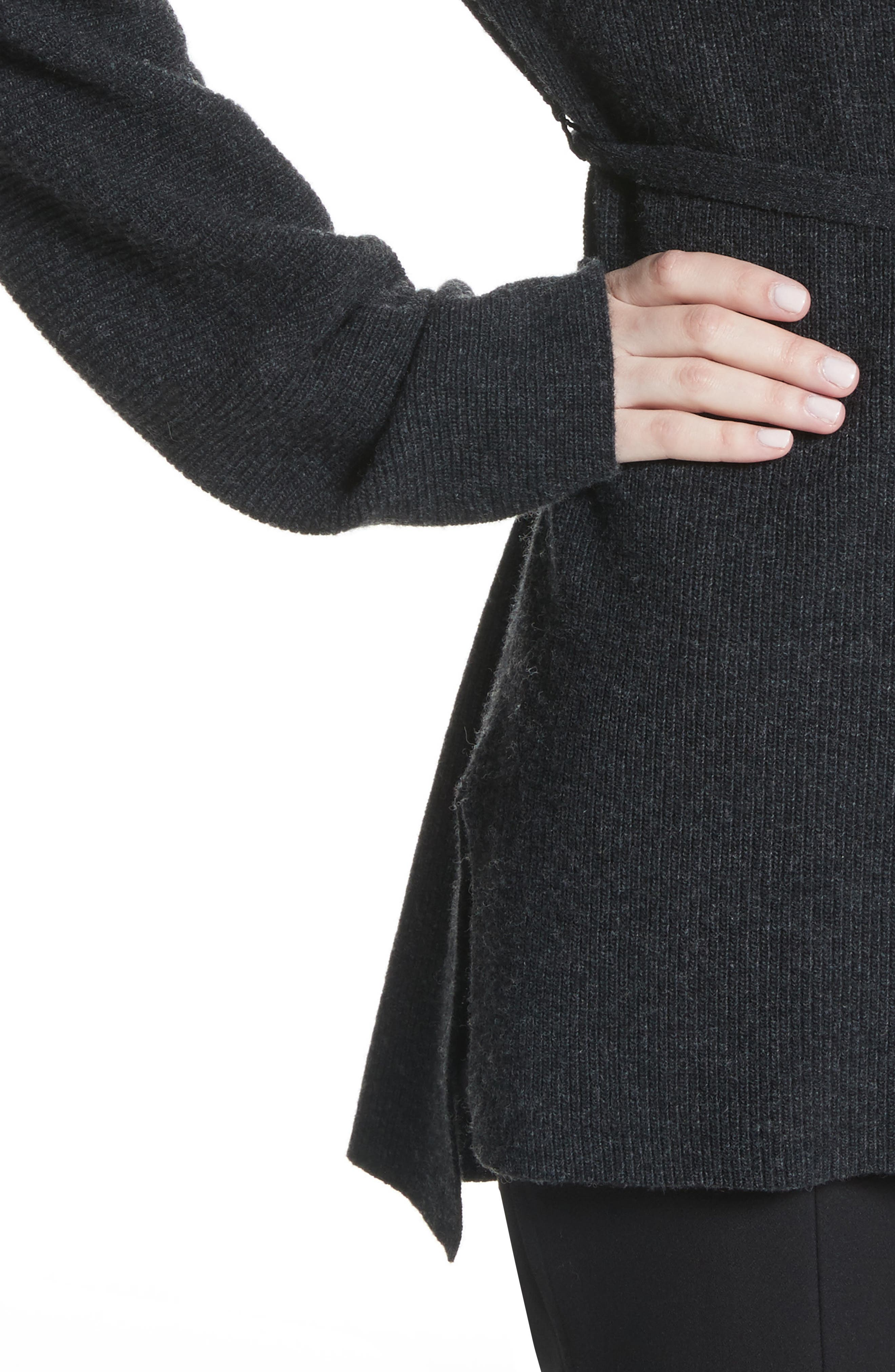 Gisella Slouchy Sweater,                             Alternate thumbnail 4, color,                             Charcoal