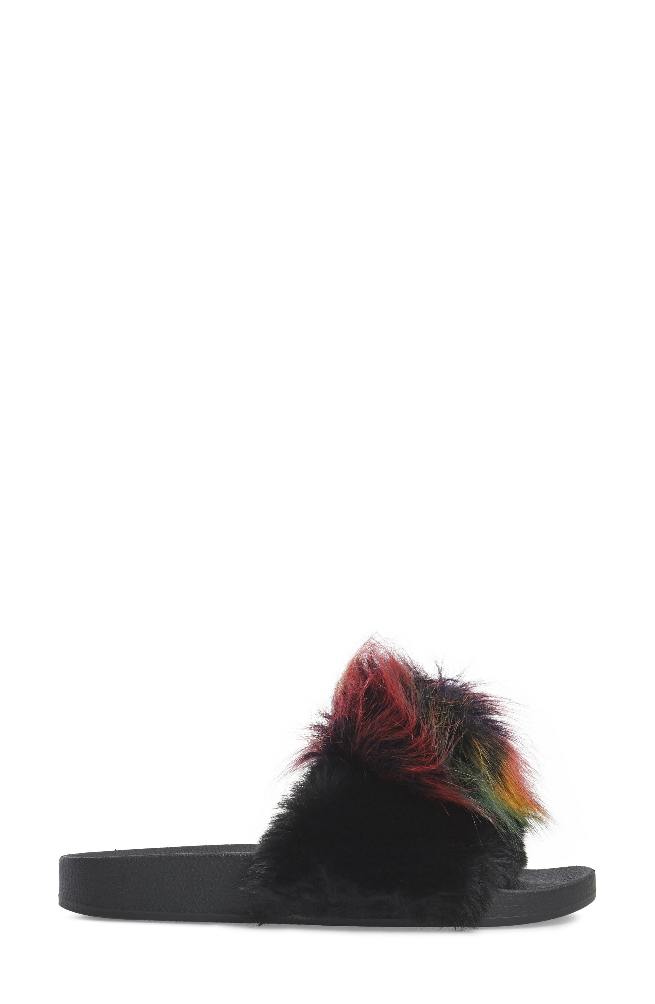 Spiral Faux Fur Slide Sandal,                             Alternate thumbnail 3, color,                             Black Multi