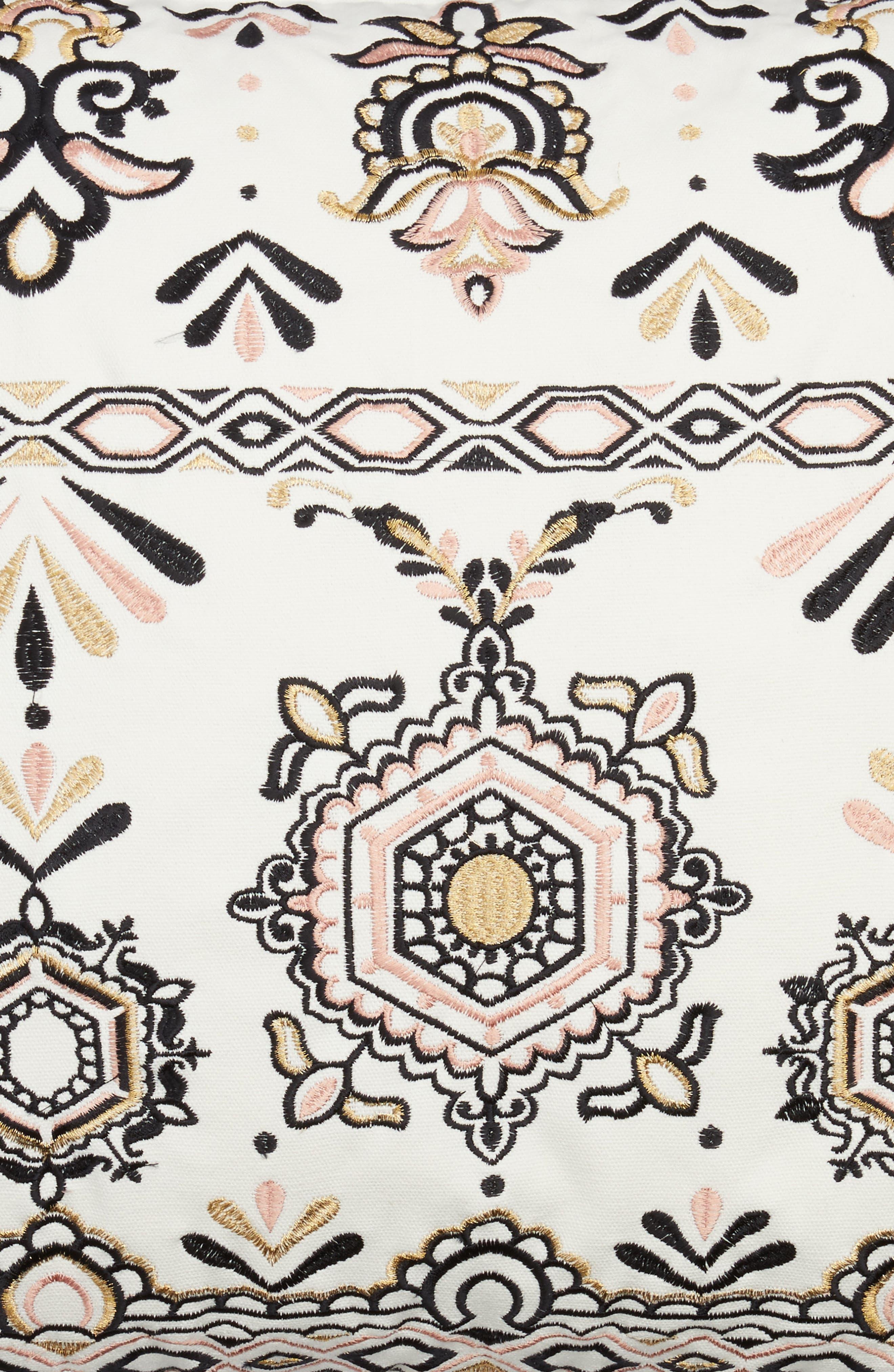Embroidered Medallion Pillow,                             Alternate thumbnail 3, color,                             White