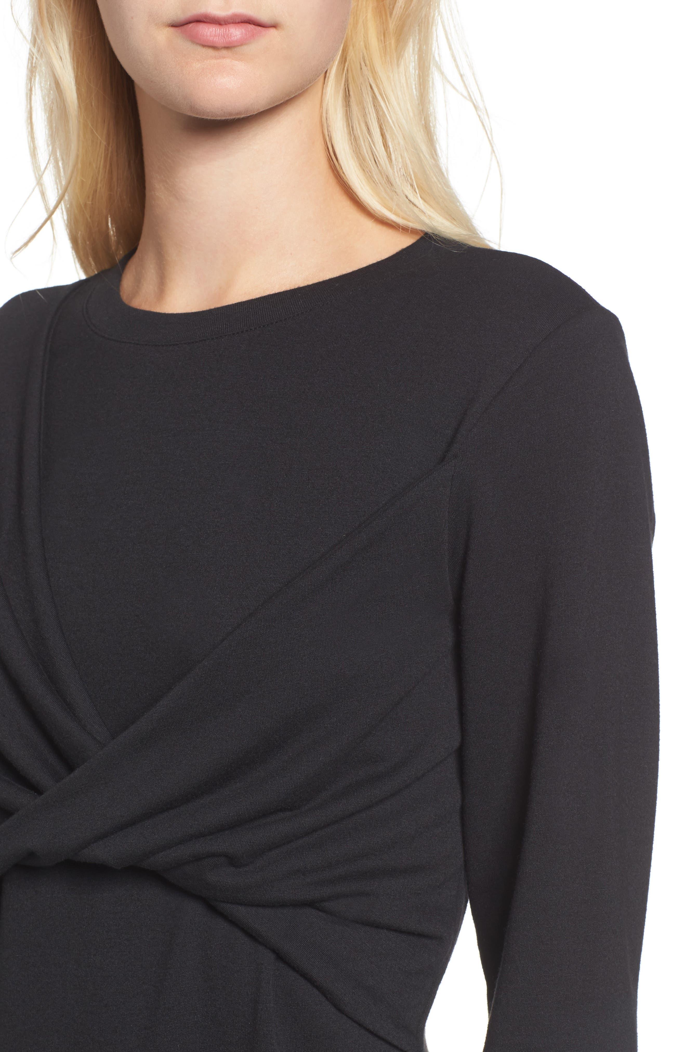 Twist Front Sweatshirt,                             Alternate thumbnail 4, color,                             Black