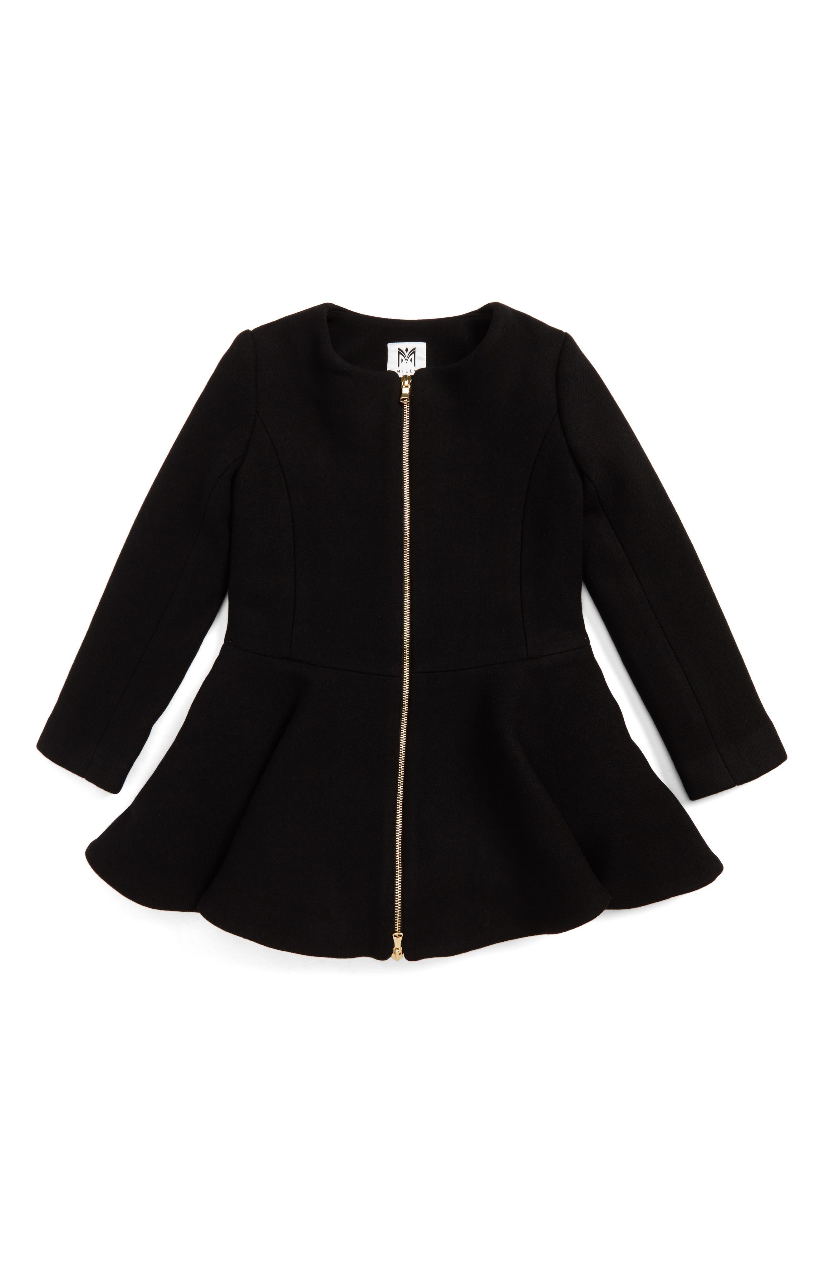 Emma Peplum Coat,                         Main,                         color, Black