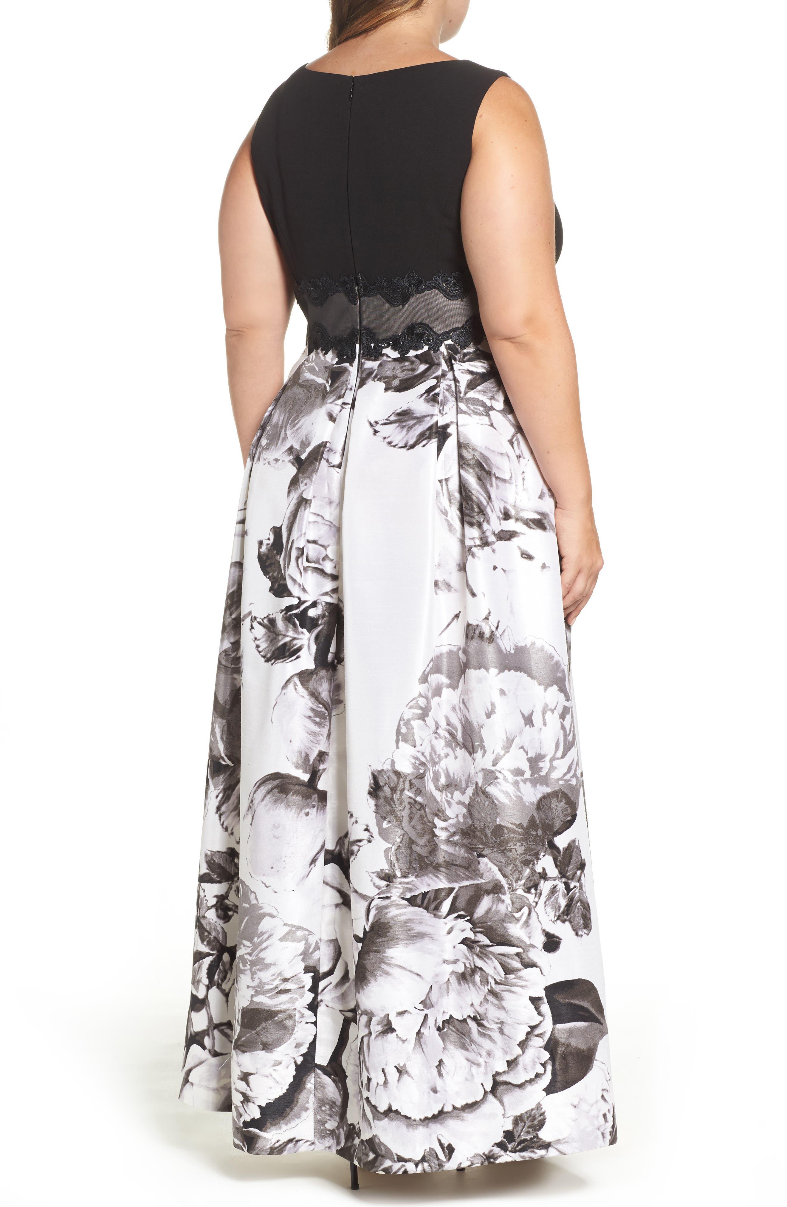 Alternate Image 2  - Sangria Floral Print Ballgown (Plus Size)