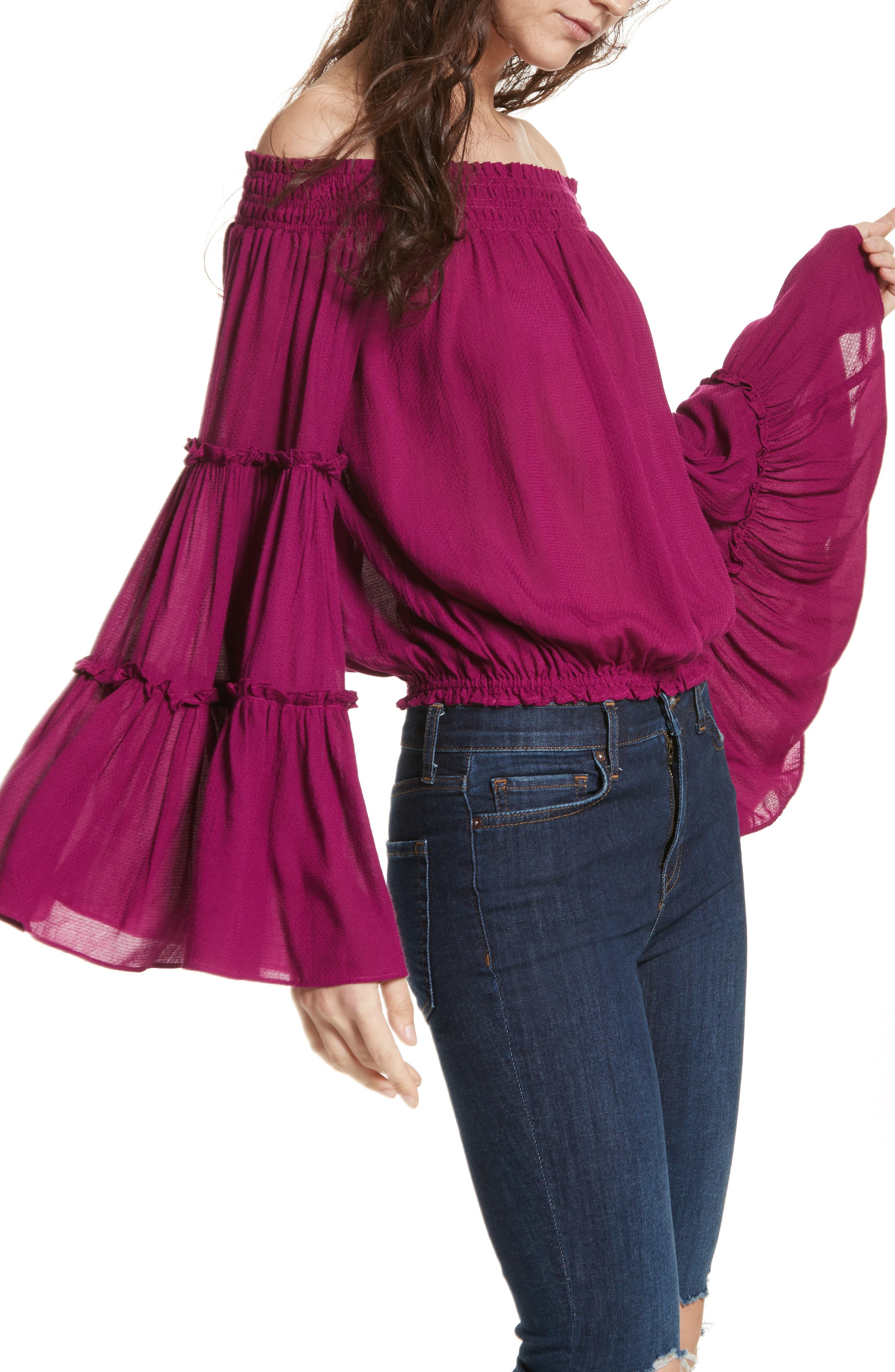 Free Spirit Off the Shoulder Top,                             Main thumbnail 1, color,                             Pink