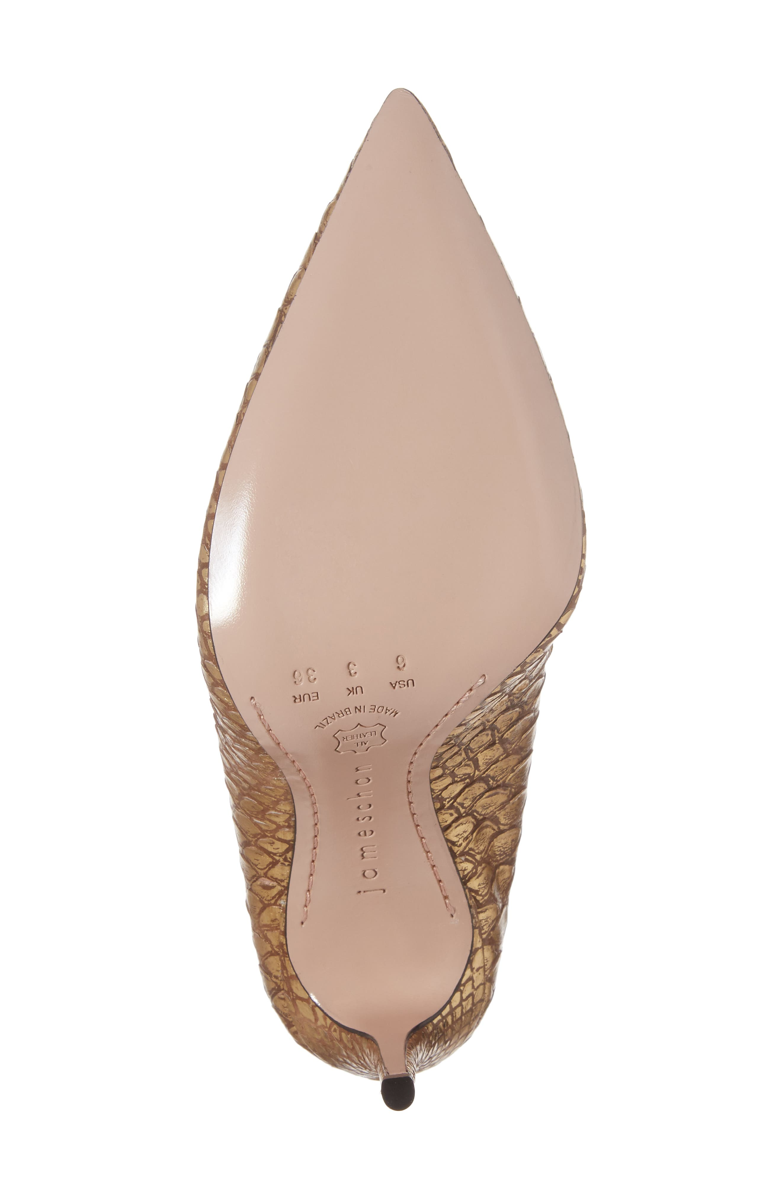 Anika II Curved Pump,                             Alternate thumbnail 6, color,                             Gold Embossed Leather