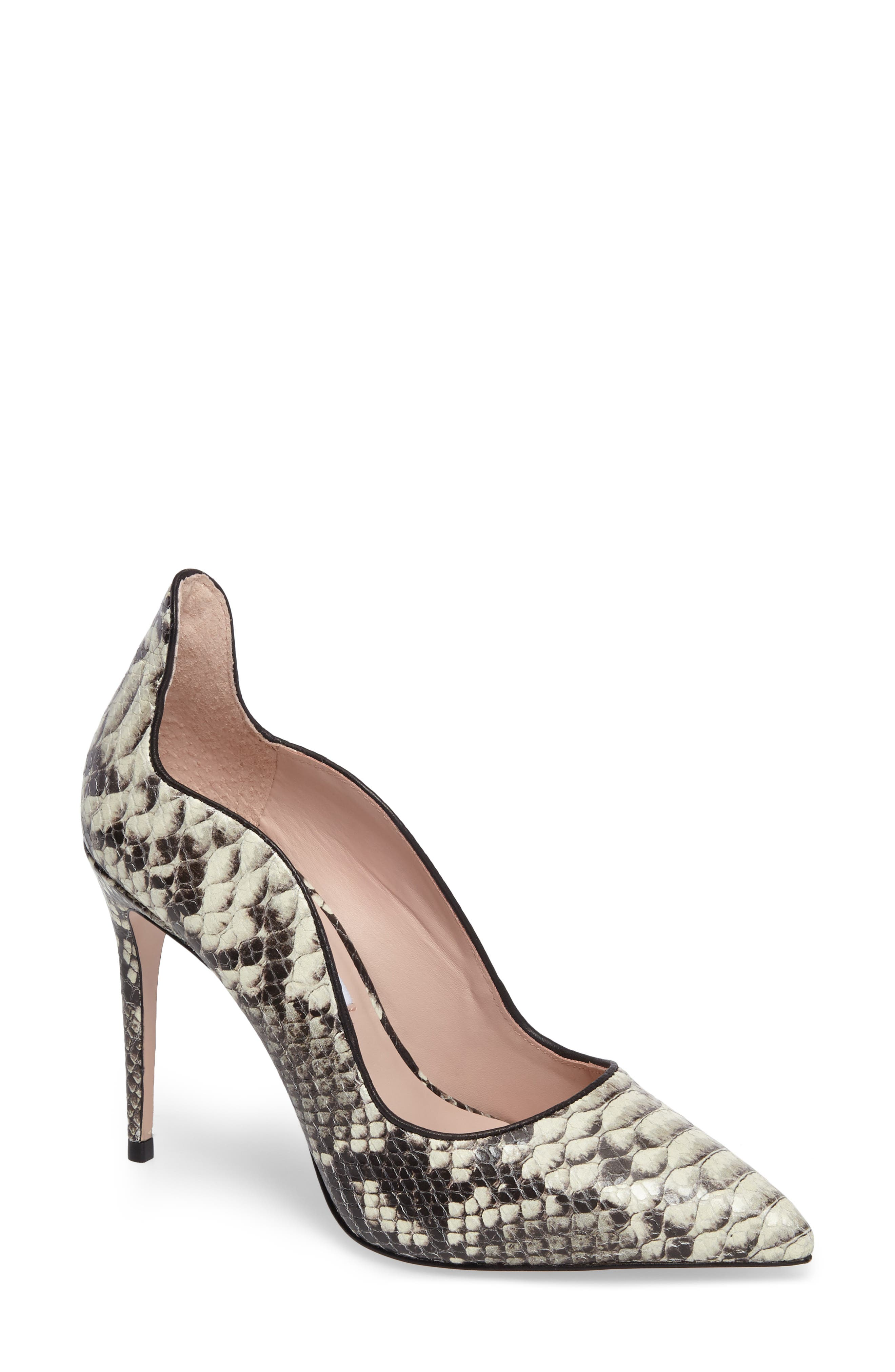 Anika II Curved Pump,                             Main thumbnail 1, color,                             Natural Embossed Leather