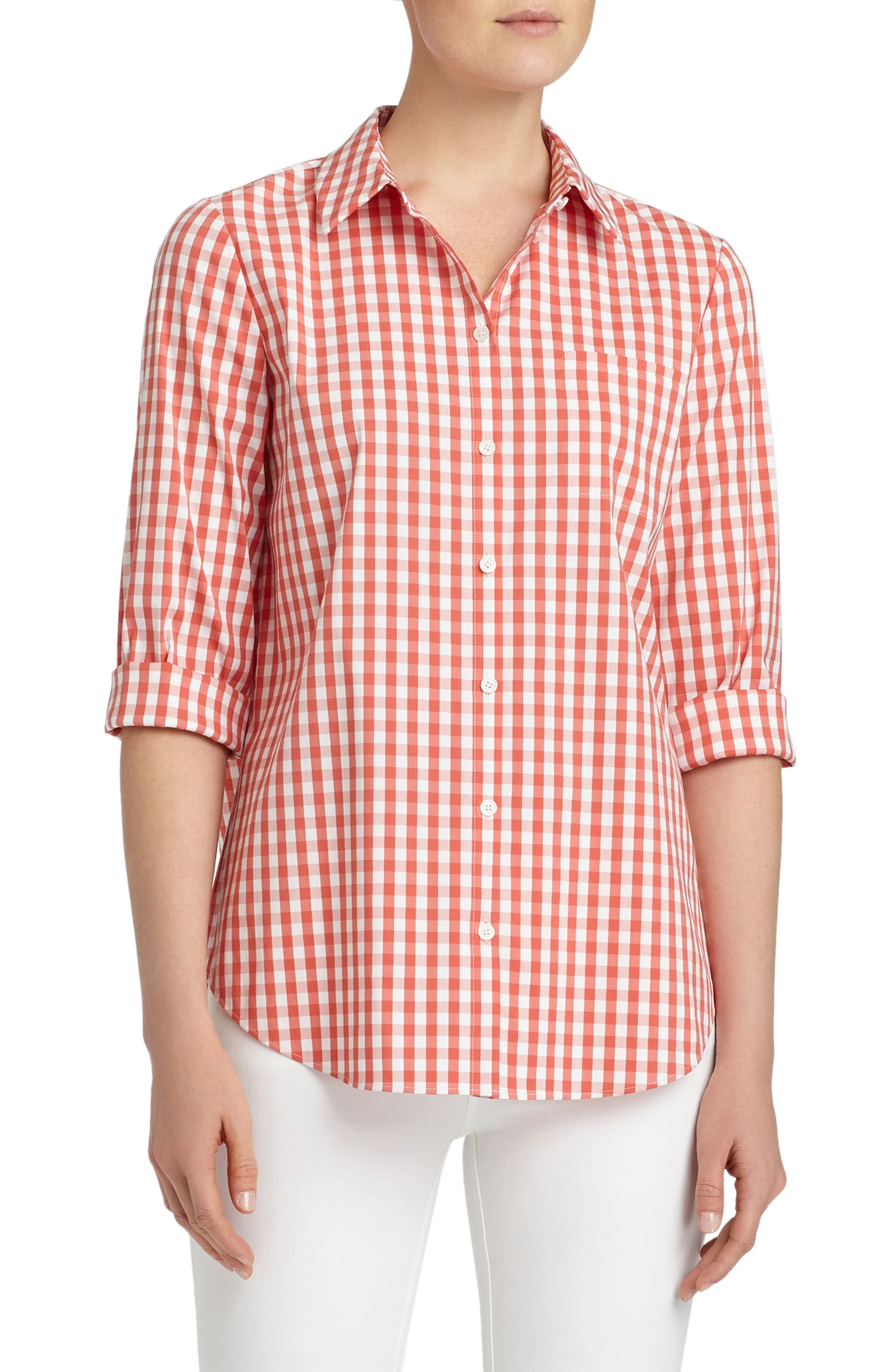 Paget Gingham Blouse,                         Main,                         color, Daybreak Multi