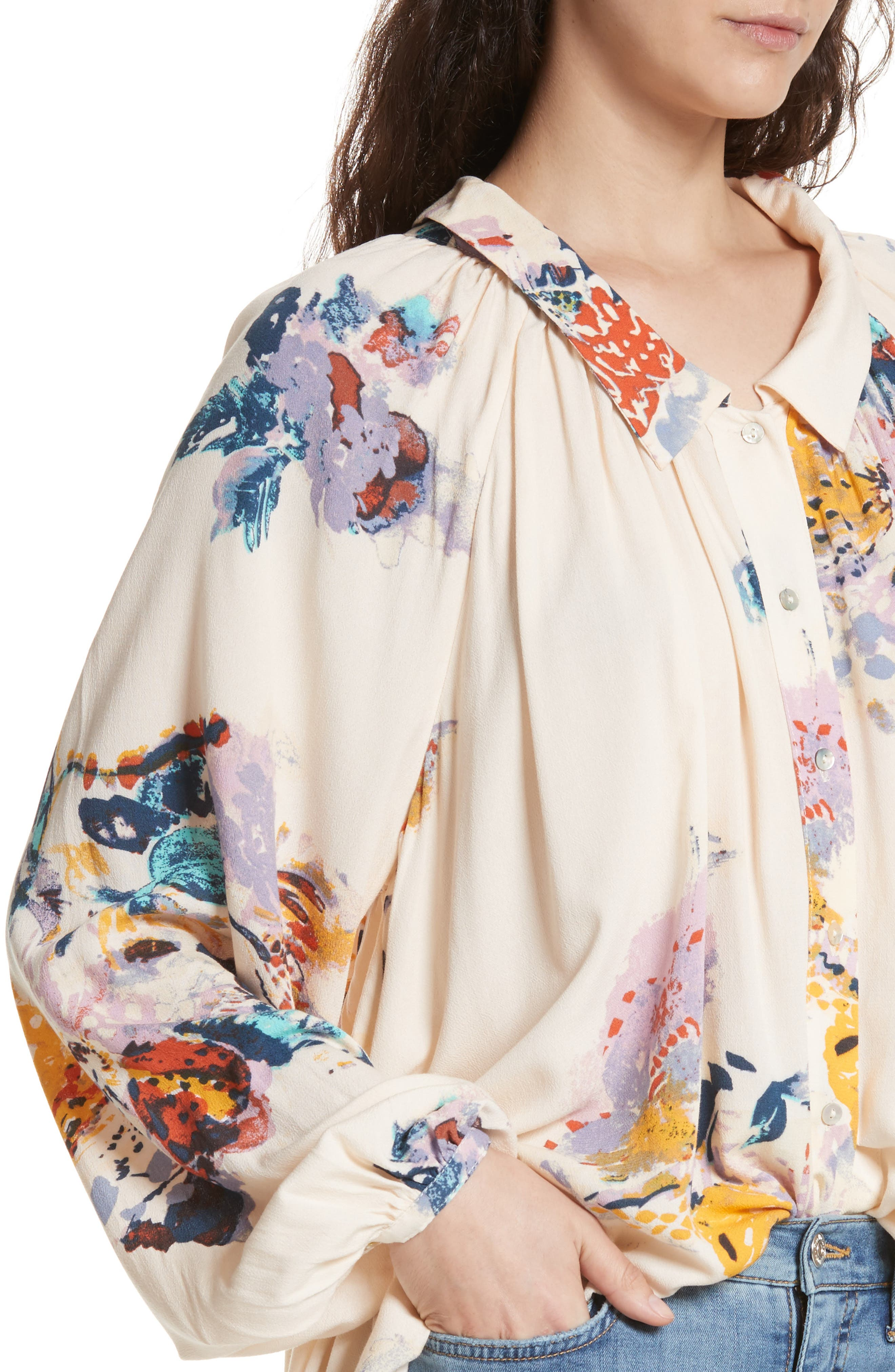 Meadow Lark Blouse,                             Alternate thumbnail 4, color,                             Cream