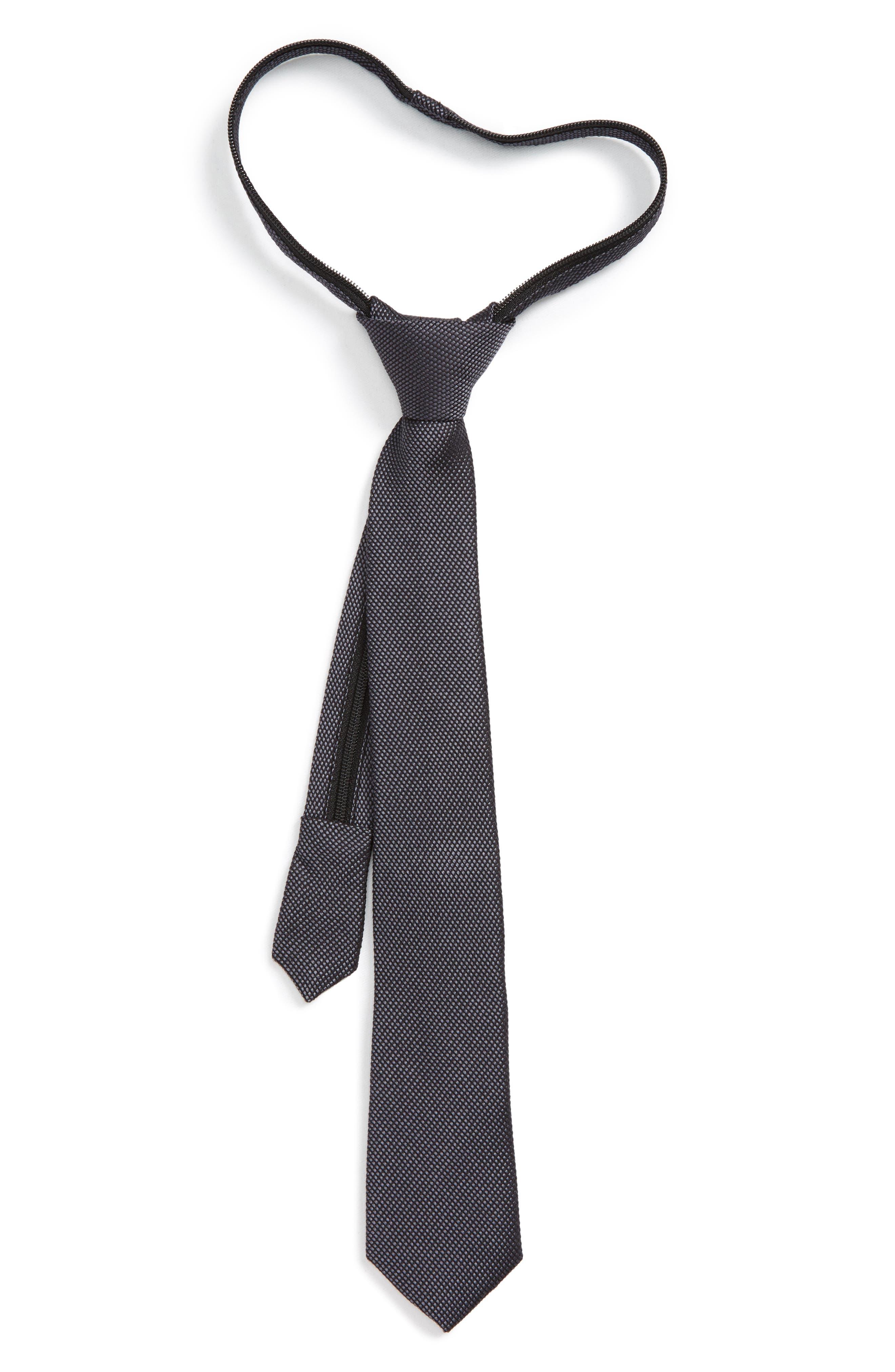 Main Image - Nordstrom Solid Silk Zip Tie (Big Boys)