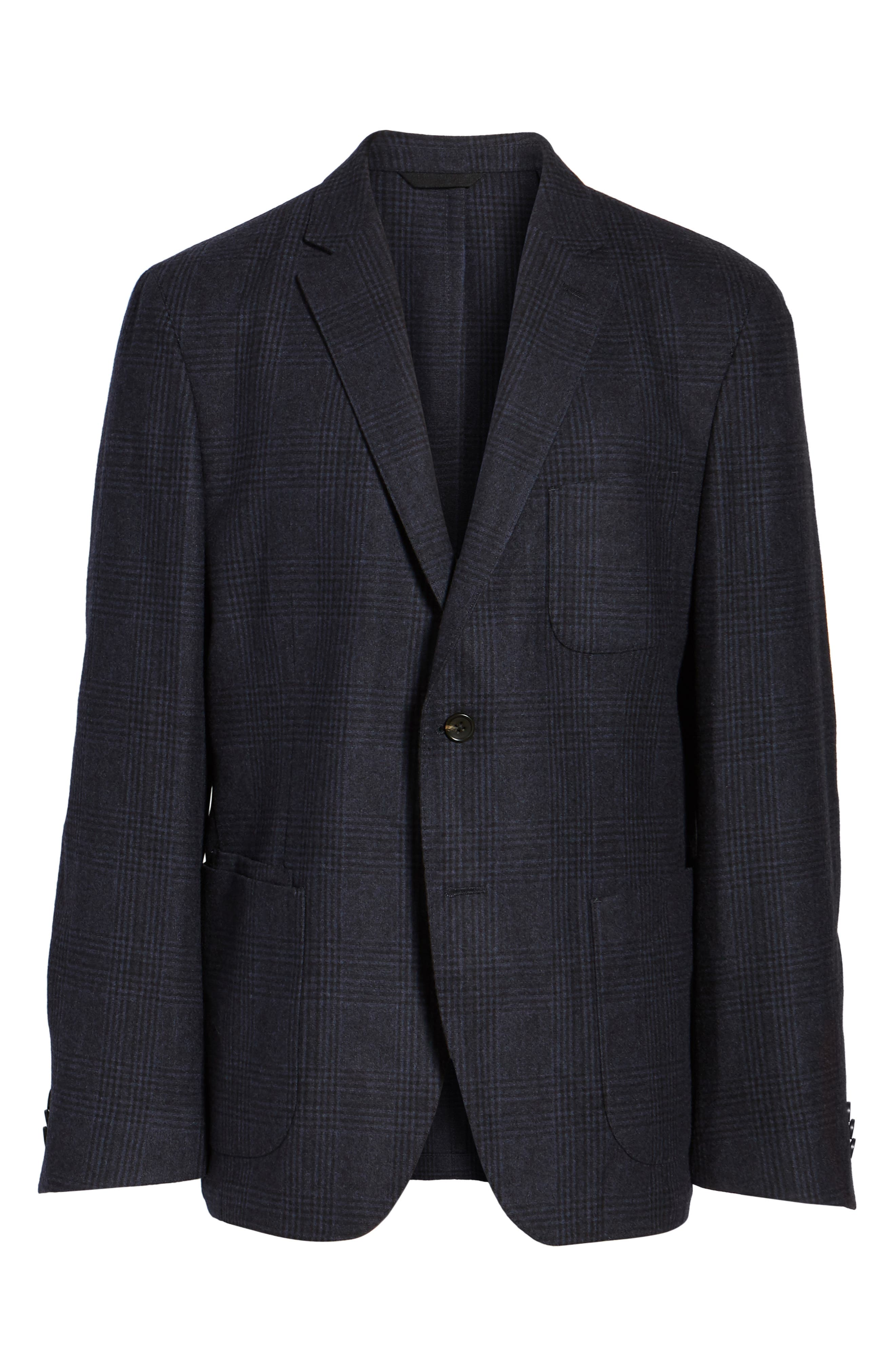 Classic Fit Plaid Merino Wool Jersey Sport Coat,                             Alternate thumbnail 6, color,                             Navy