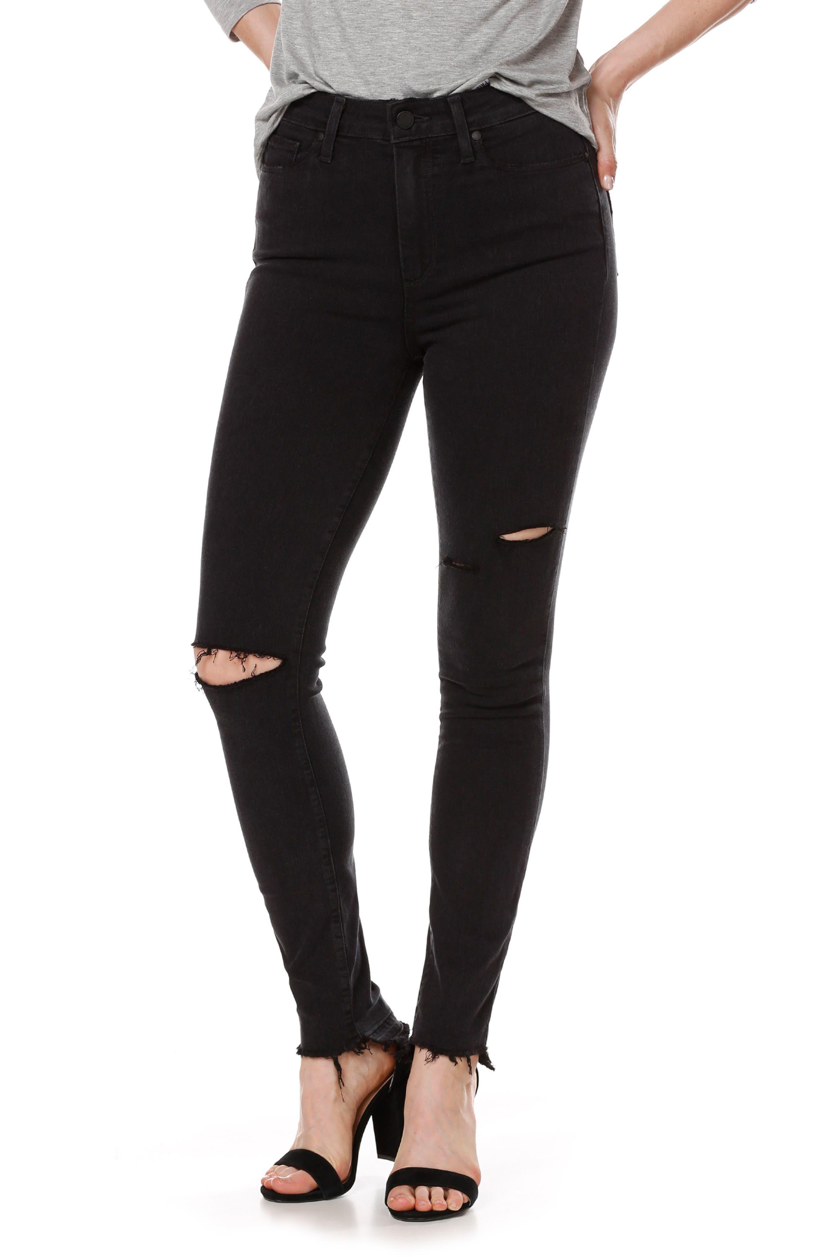 Alternate Image 3  - PAIGE Transcend - Margot High Waist Ankle Skinny Jeans (Black Sky Destructed)