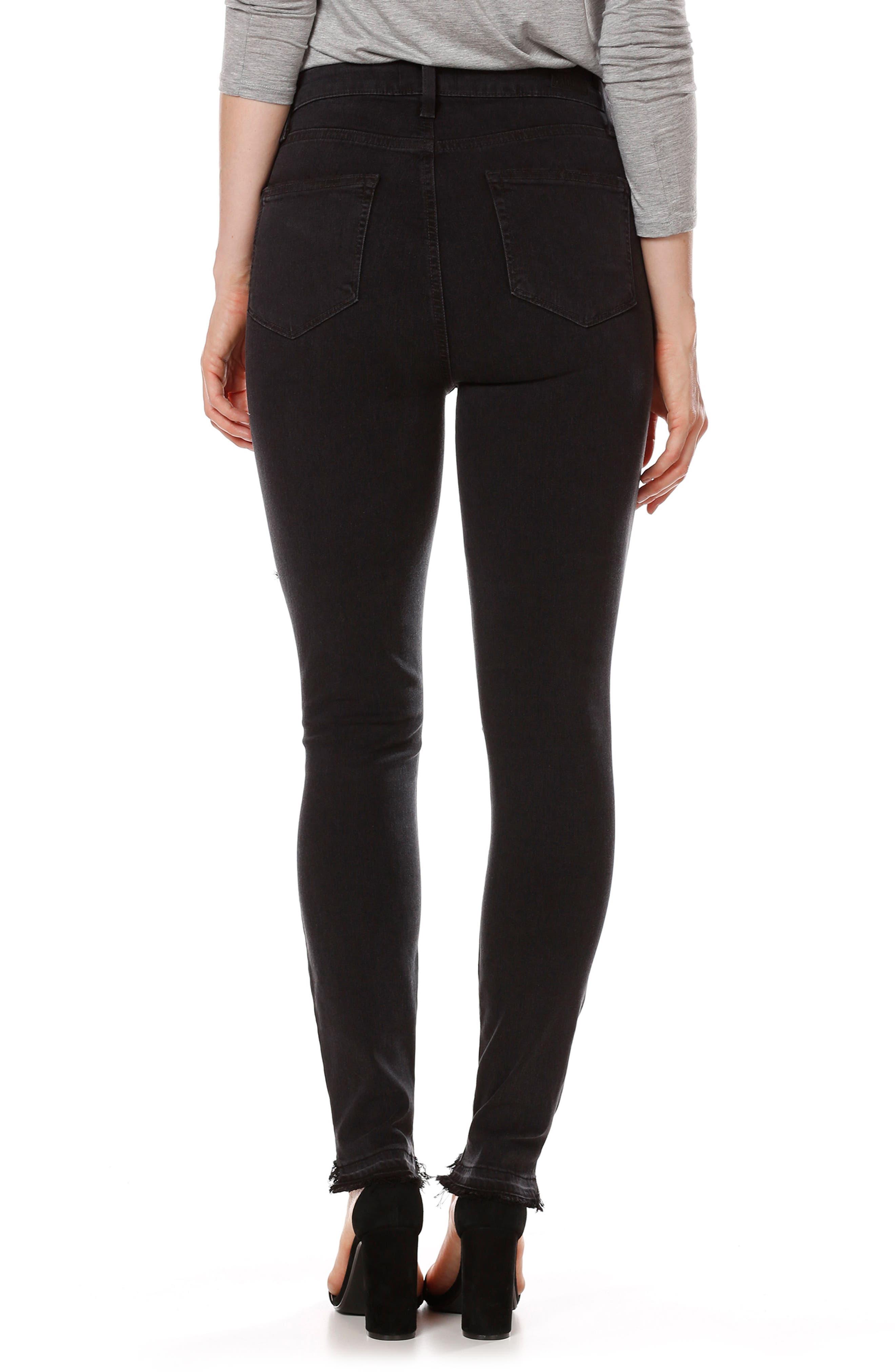 Alternate Image 2  - PAIGE Transcend - Margot High Waist Ankle Skinny Jeans (Black Sky Destructed)