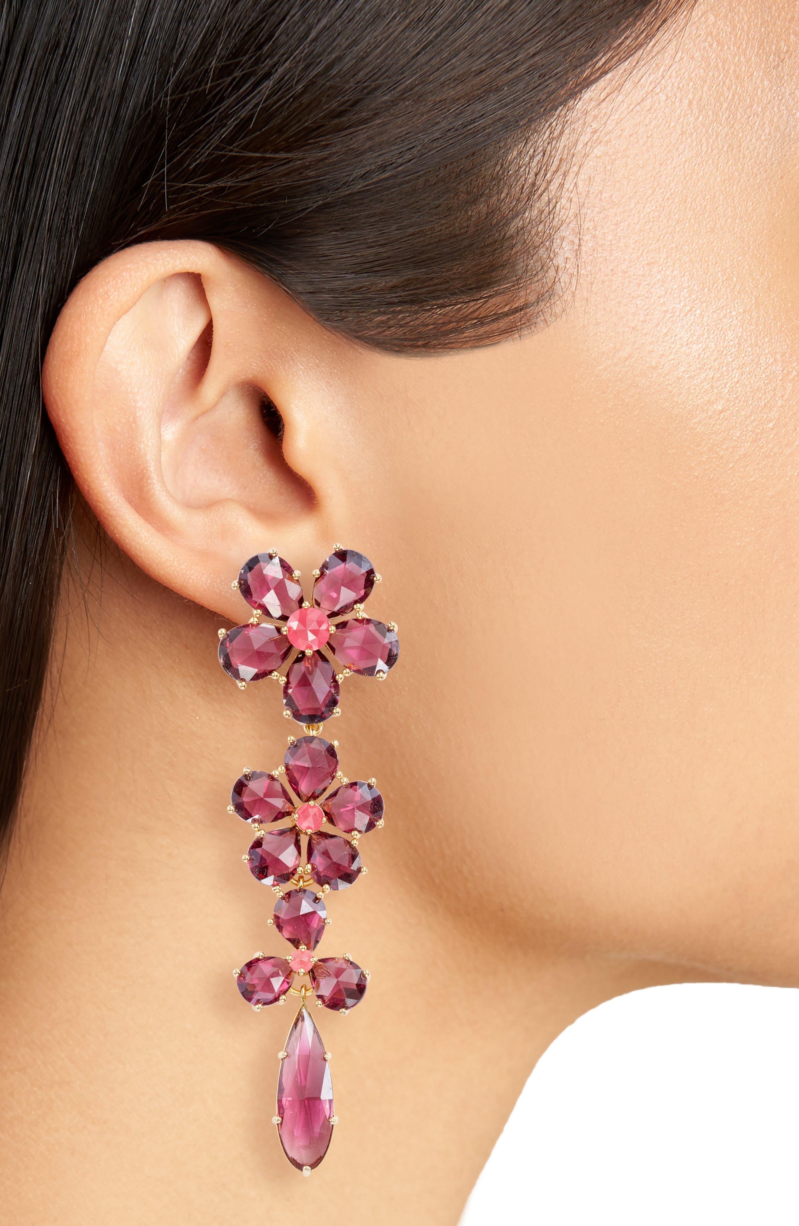 in full bloom linear drop earrings,                             Alternate thumbnail 2, color,                             Berry Multi