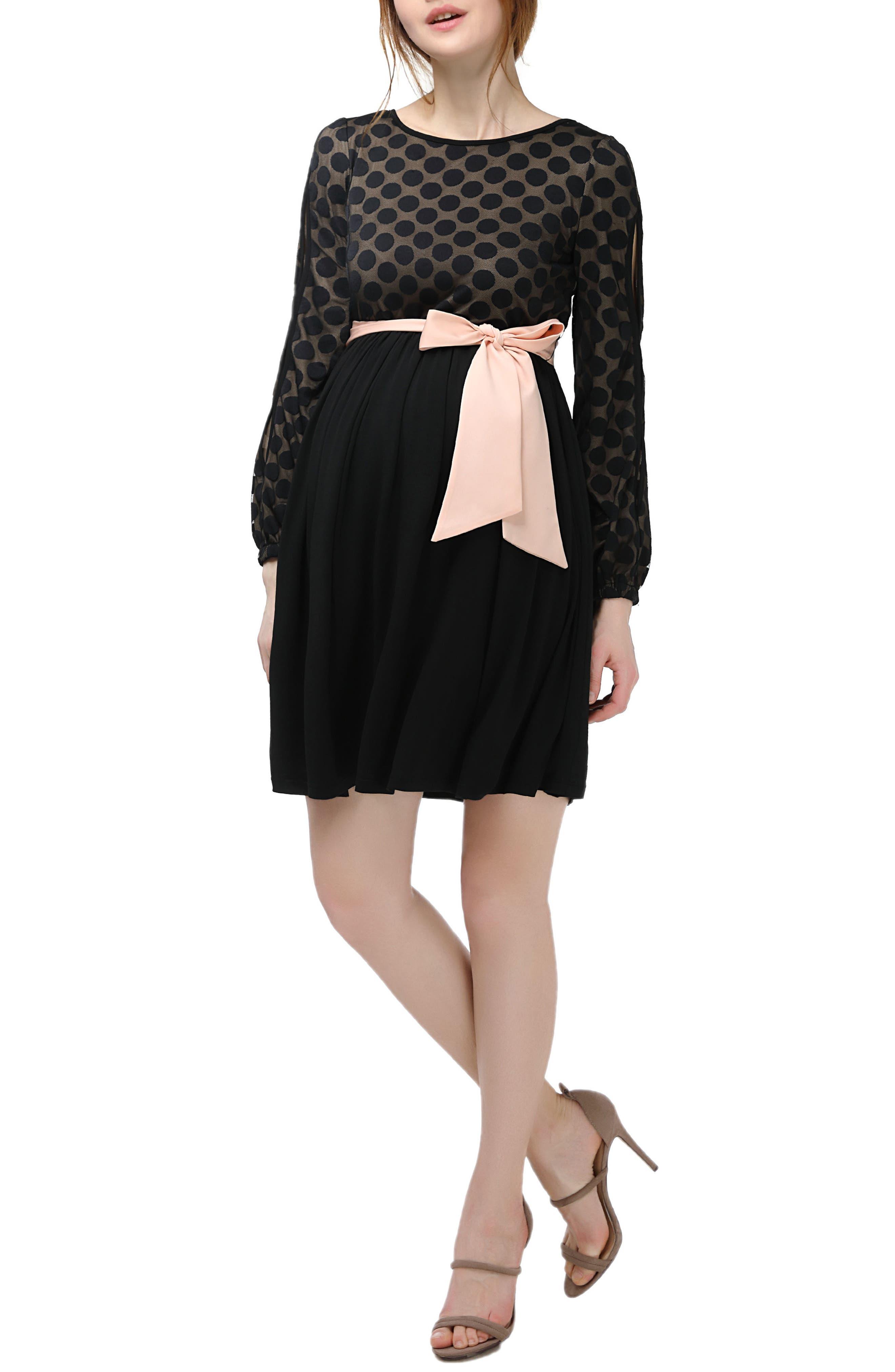 Macy Maternity Babydoll Dress,                         Main,                         color, Black