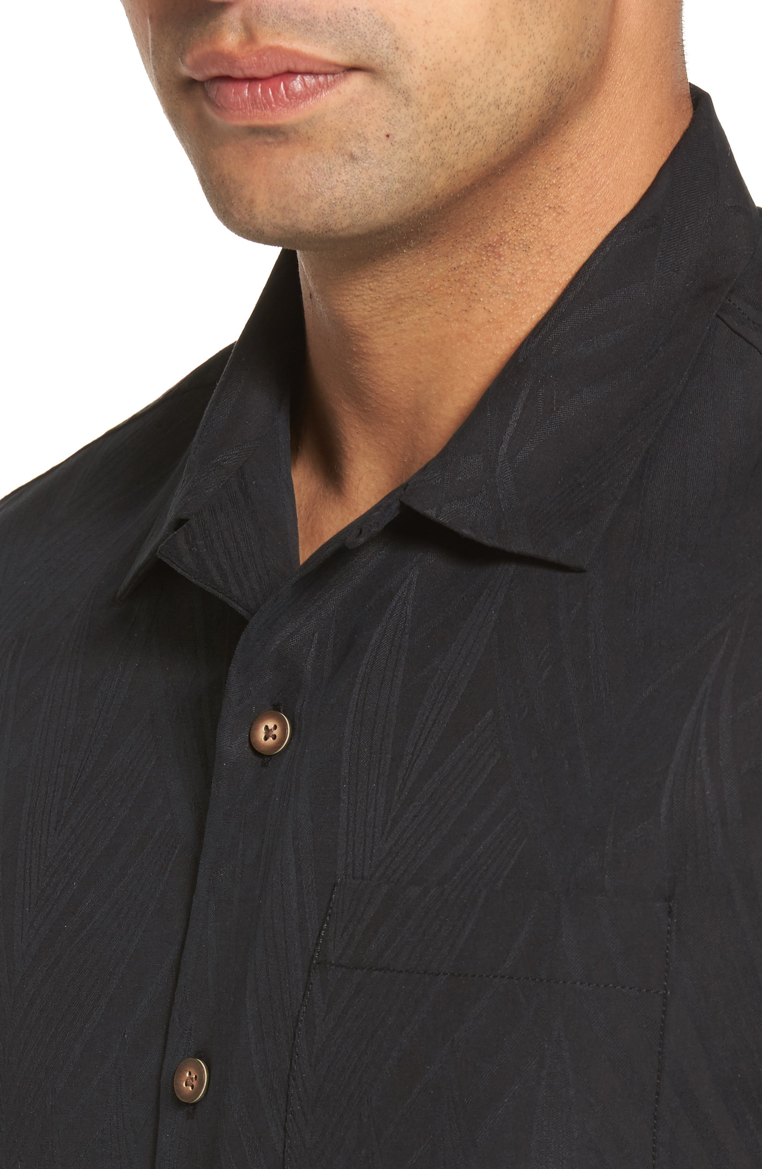 Local Watering Hole Embroidered Silk Camp Shirt,                             Alternate thumbnail 4, color,                             Black