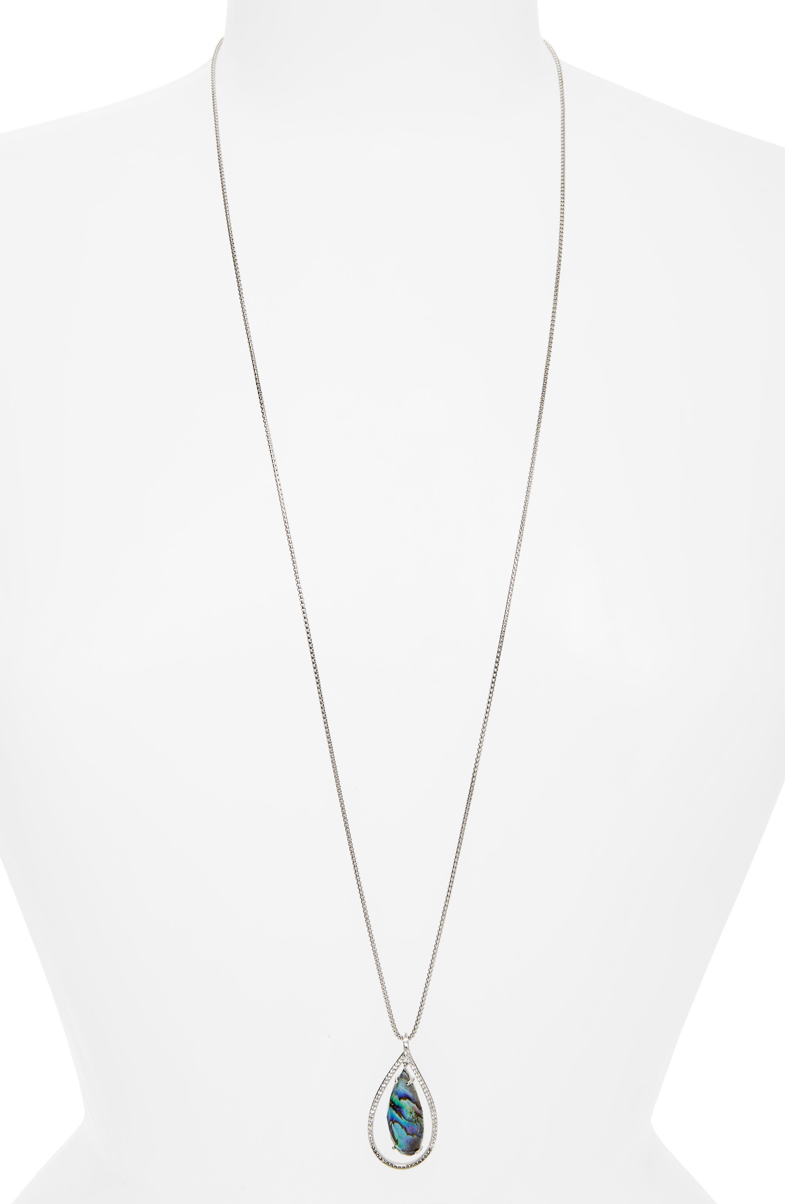 Tropical Touches Doublet Pendant Necklace,                         Main,                         color, Abalone/ Black Diamond