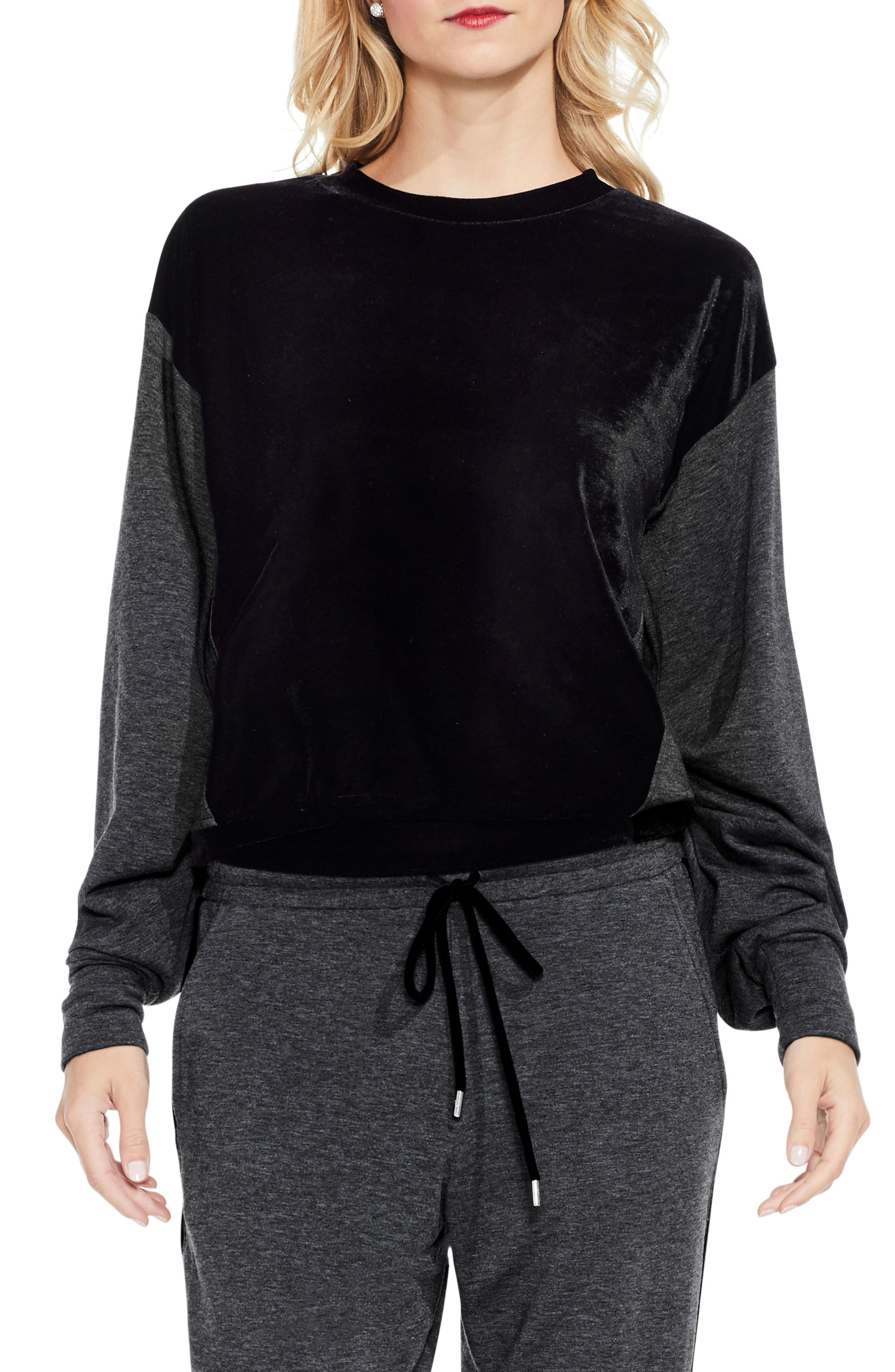 Two by Vince Camuto Velvet Panel Sweatshirt