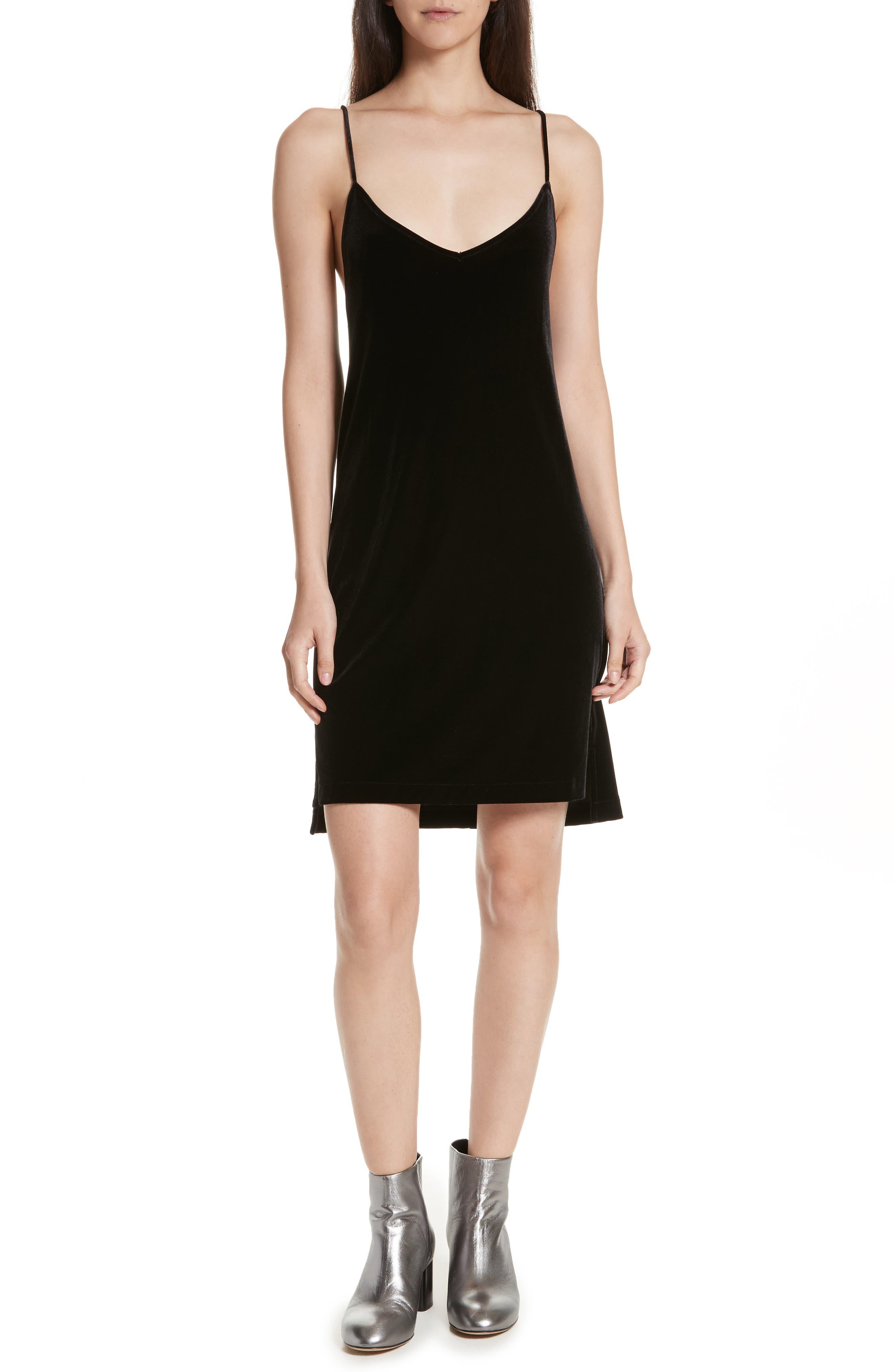 Amber Velvet Slipdress,                         Main,                         color, Black