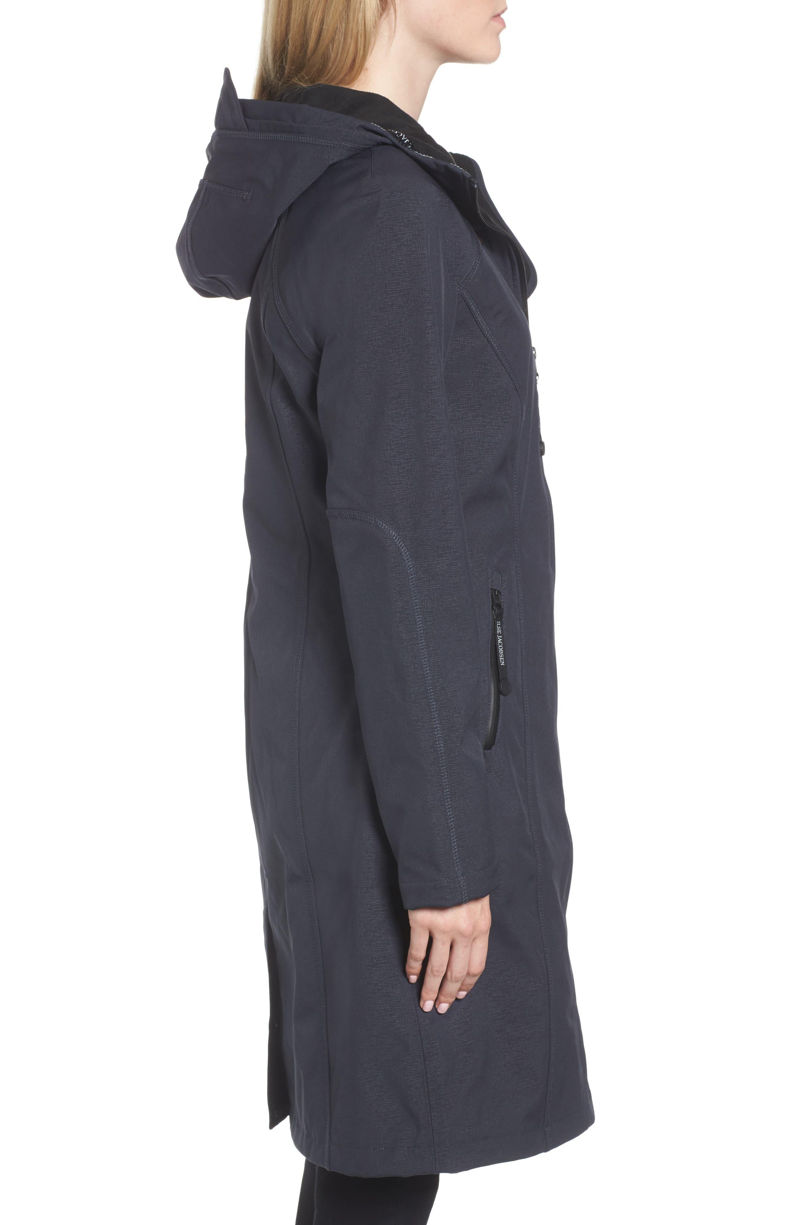Long Hooded Raincoat,                             Alternate thumbnail 3, color,                             Indigo