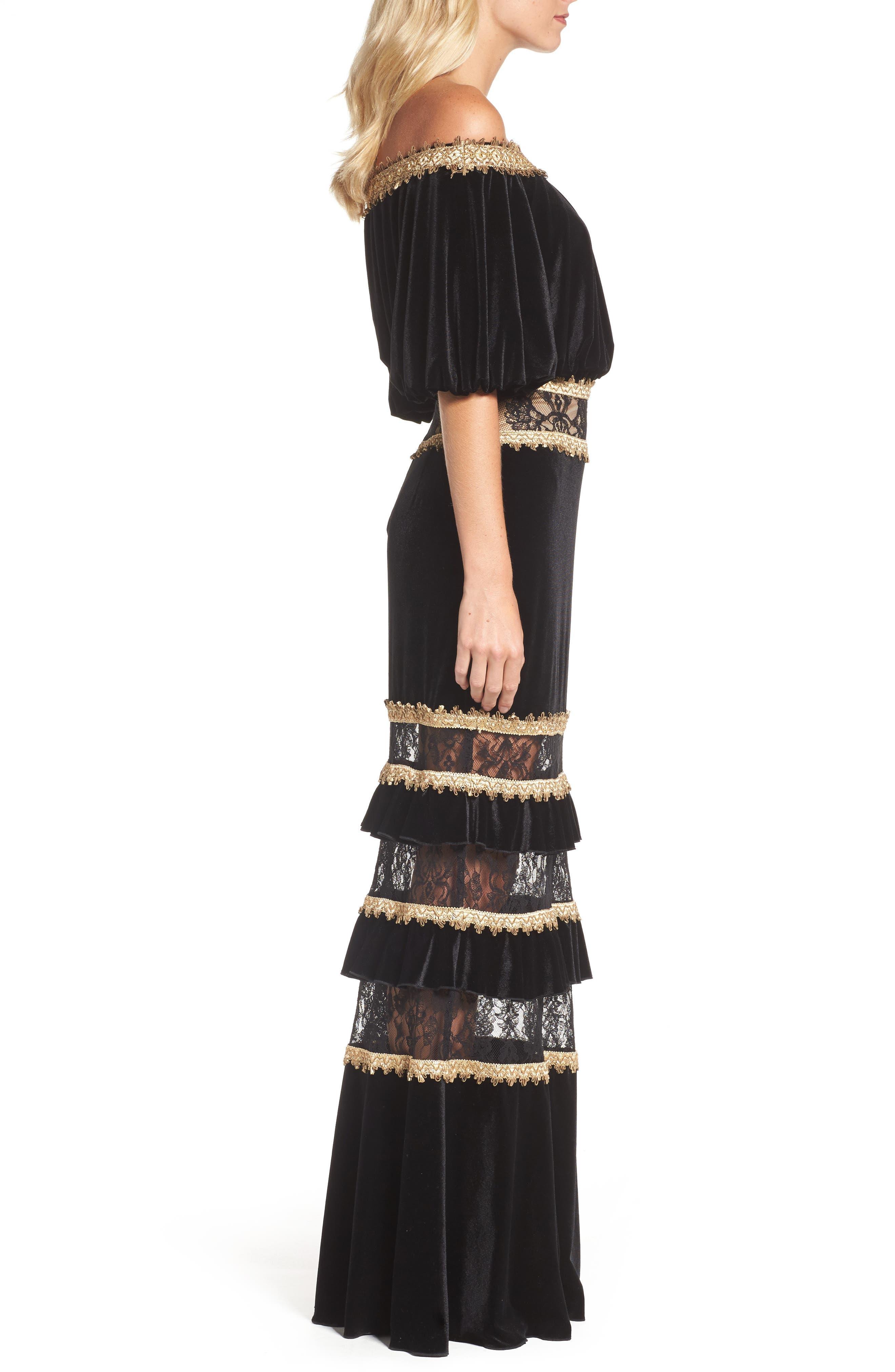 Alternate Image 3  - Tadashi Shoji Velvet Ruffle & Lace Off the Shoulder Gown
