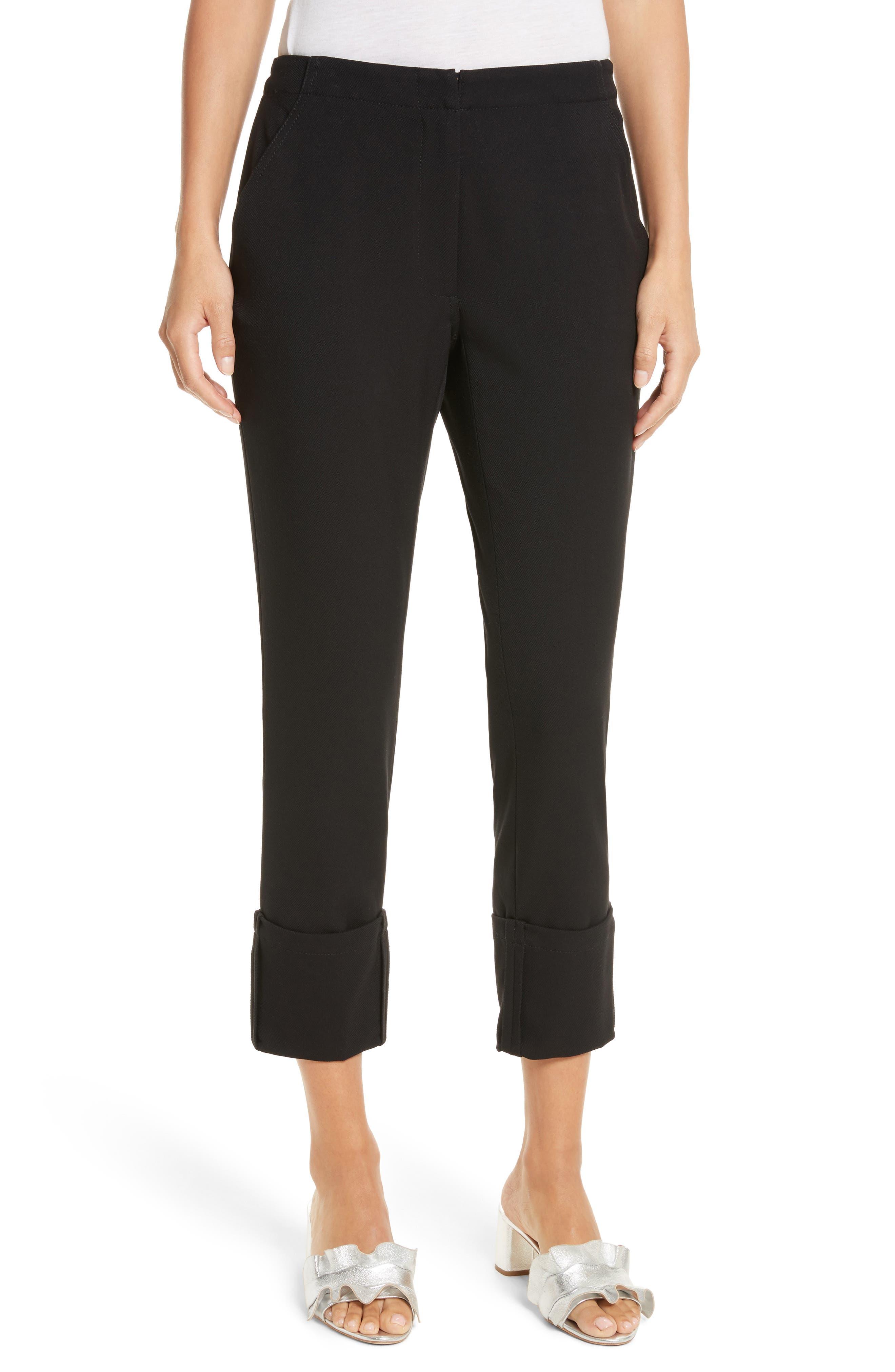 Crop Straight Leg Pants,                         Main,                         color, Black