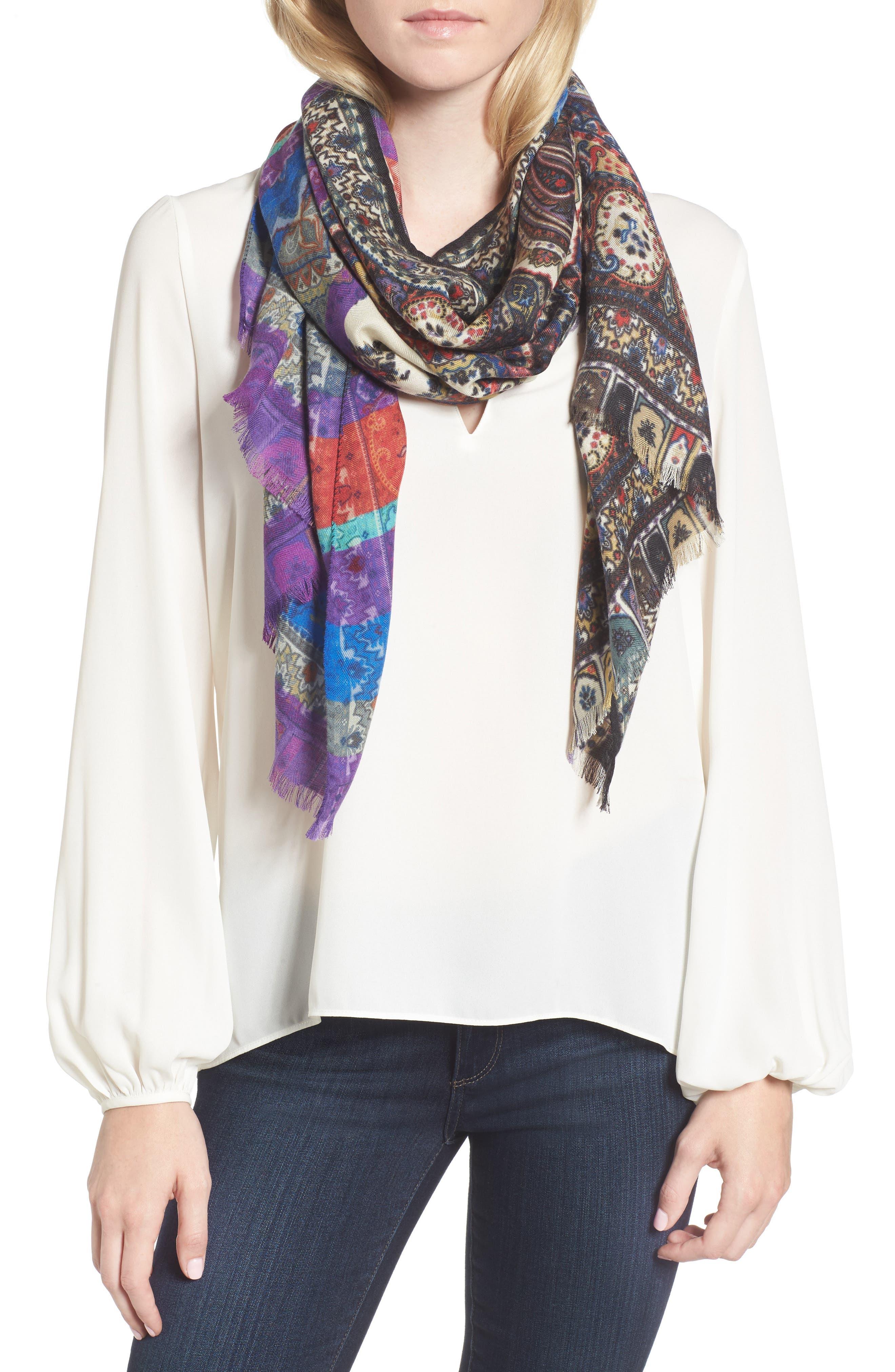 Cashmere & Silk Scarf,                             Main thumbnail 1, color,                             White