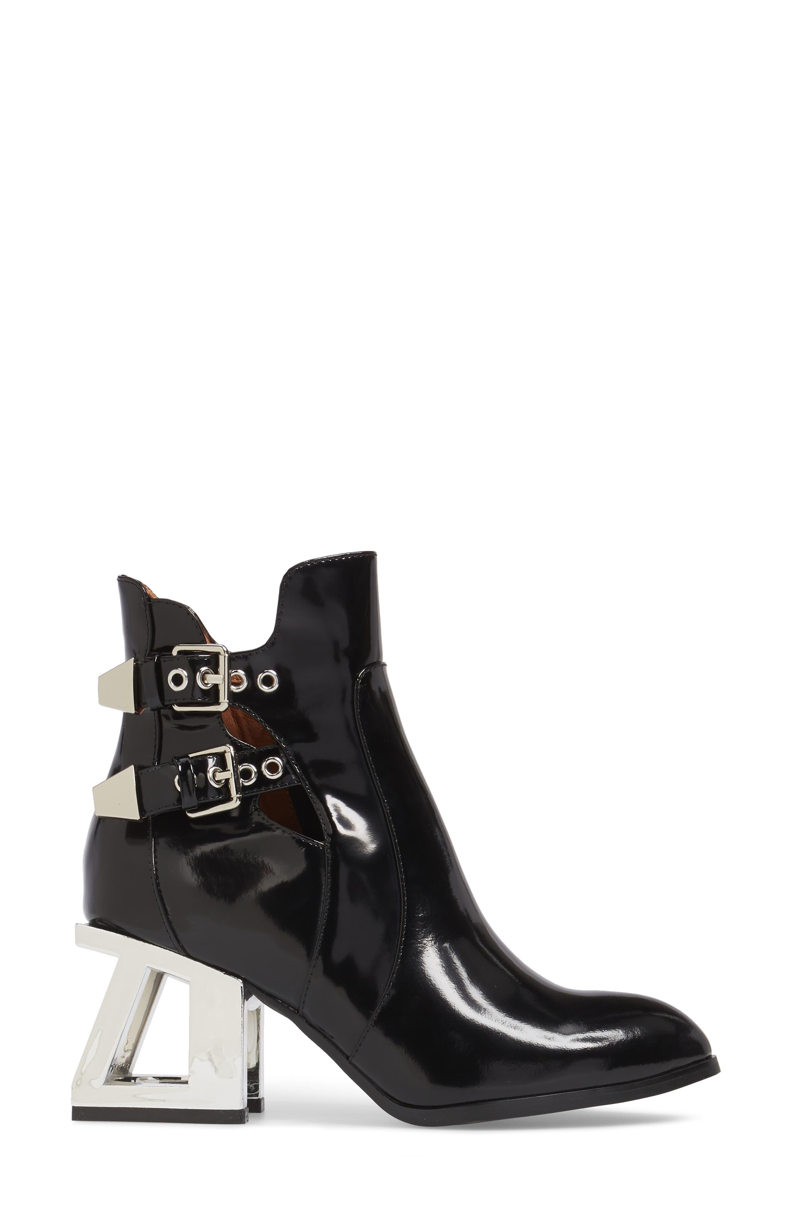 Edmund Cage Heel Bootie,                             Alternate thumbnail 3, color,                             Black Box Silver Leather