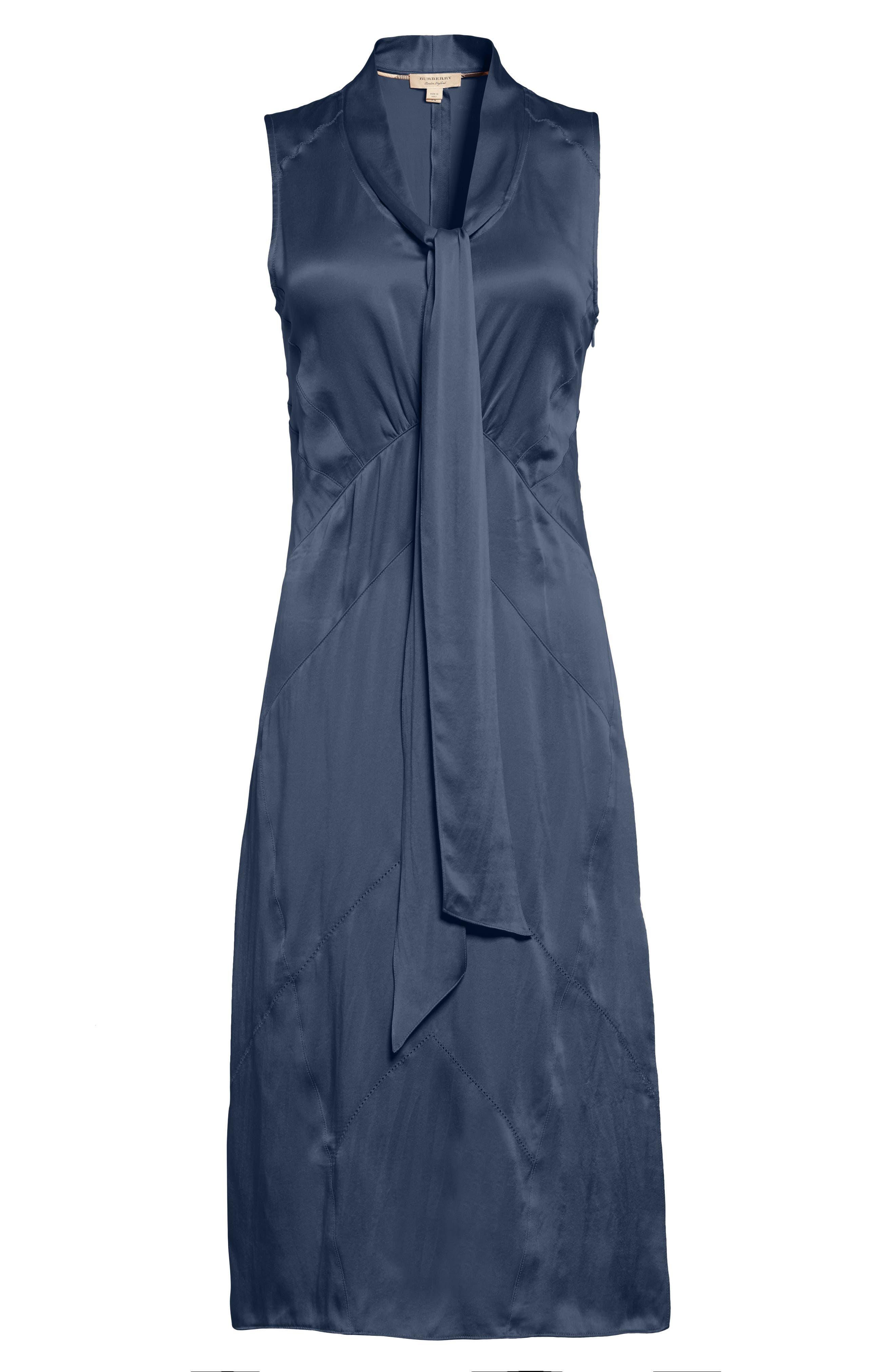 Cathy Tie Neck Silk Dress,                             Alternate thumbnail 6, color,                             Navy