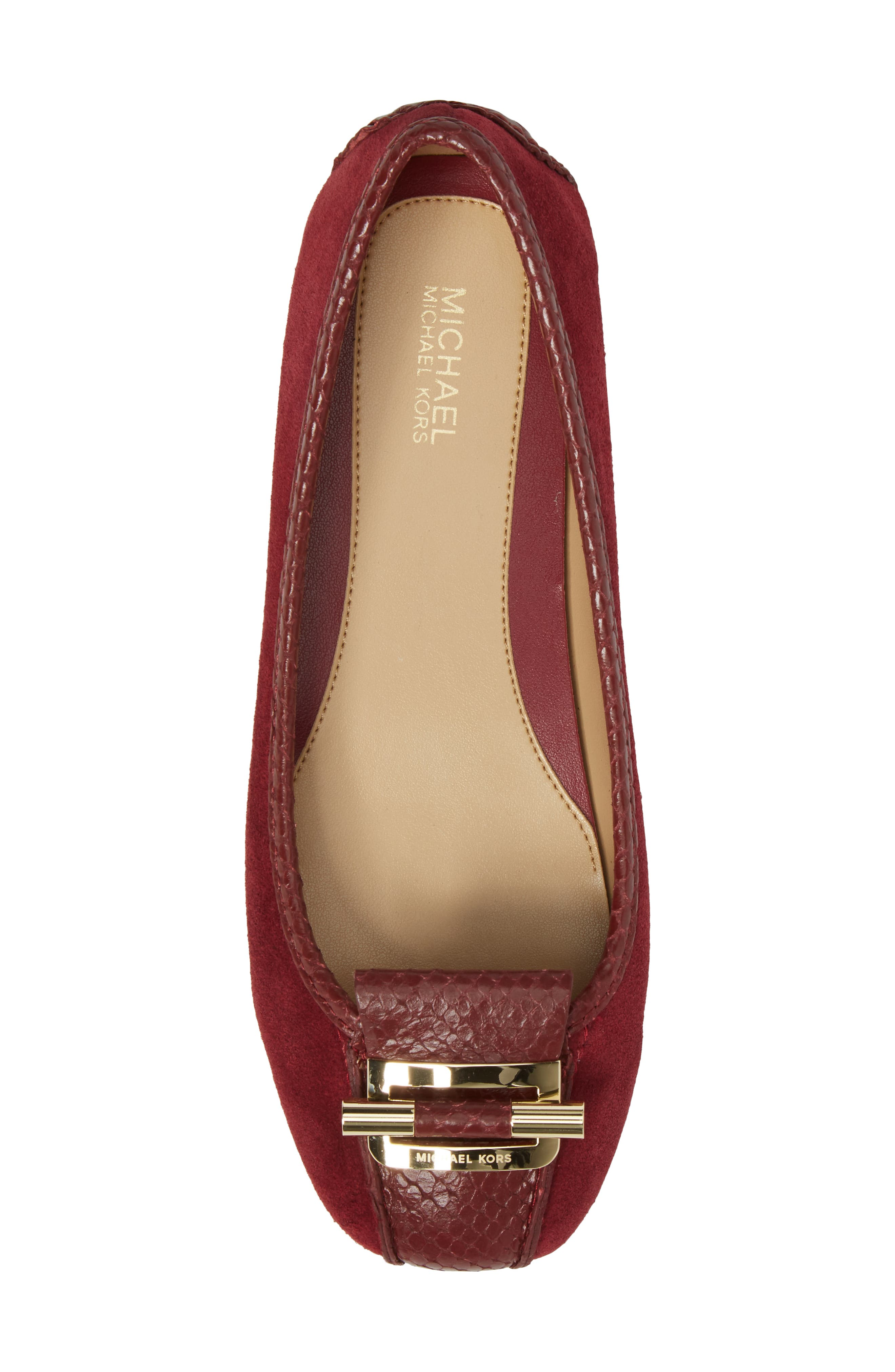 Gloria Flat,                             Alternate thumbnail 5, color,                             Mulberry Snake Print Suede
