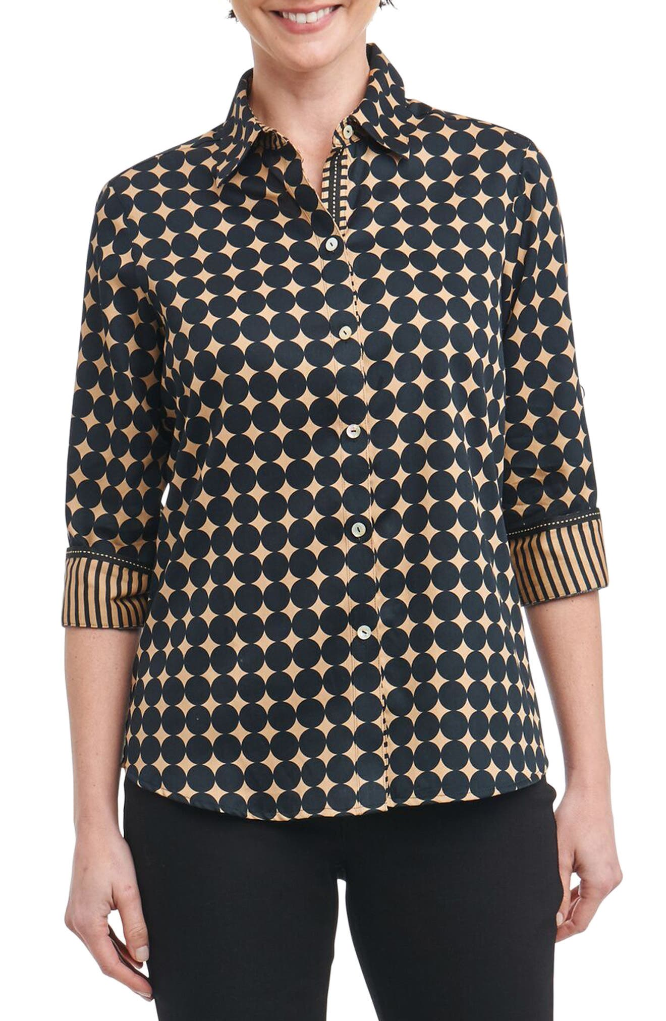 Foxcroft Ava Non-Iron Dot Print Cotton Shirt (Regular & Petite)