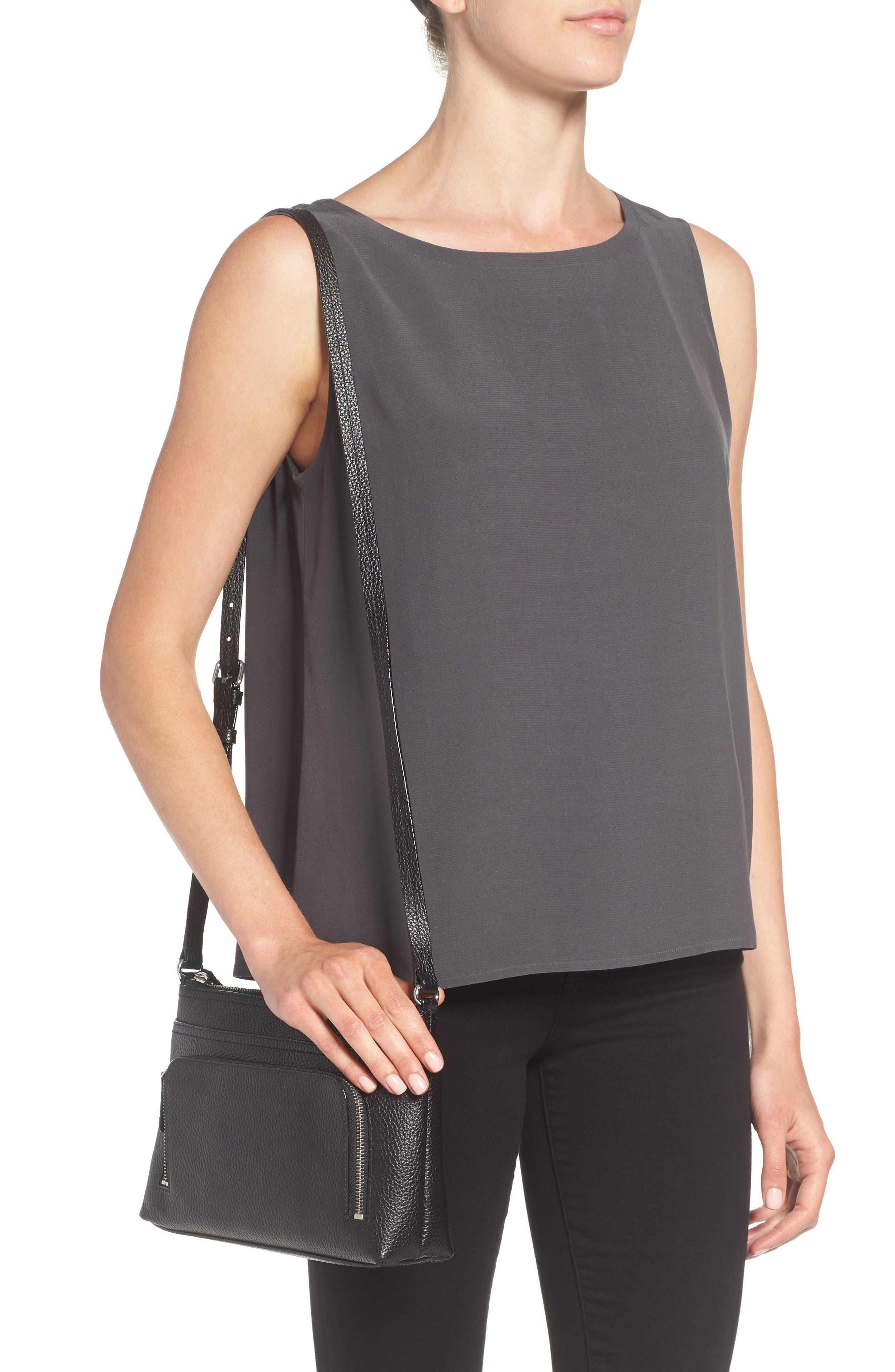 Pebbled Leather Crossbody Bag,                             Alternate thumbnail 2, color,                             Black