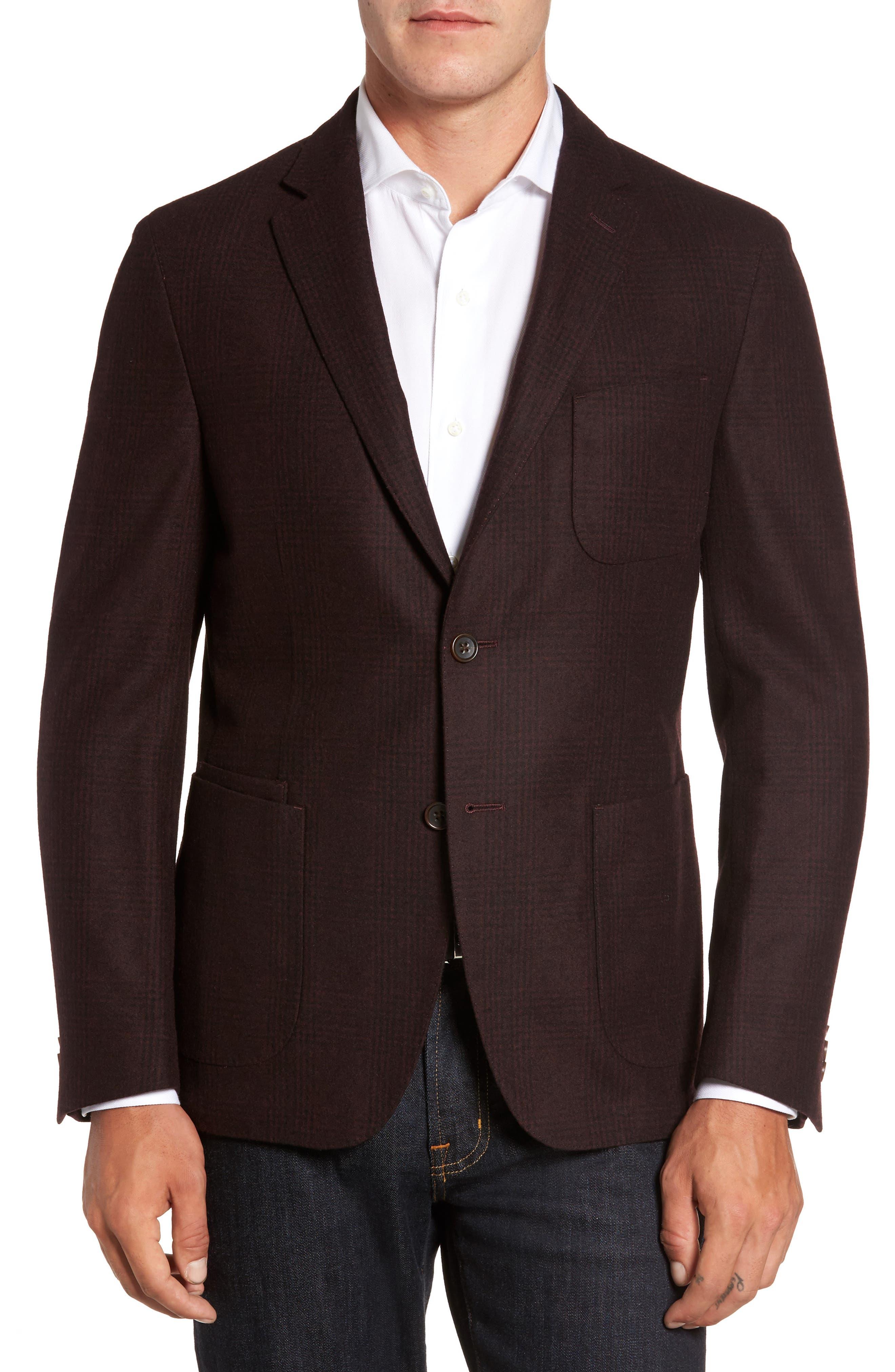 Classic Fit Plaid Merino Wool Jersey Sport Coat,                         Main,                         color, Port