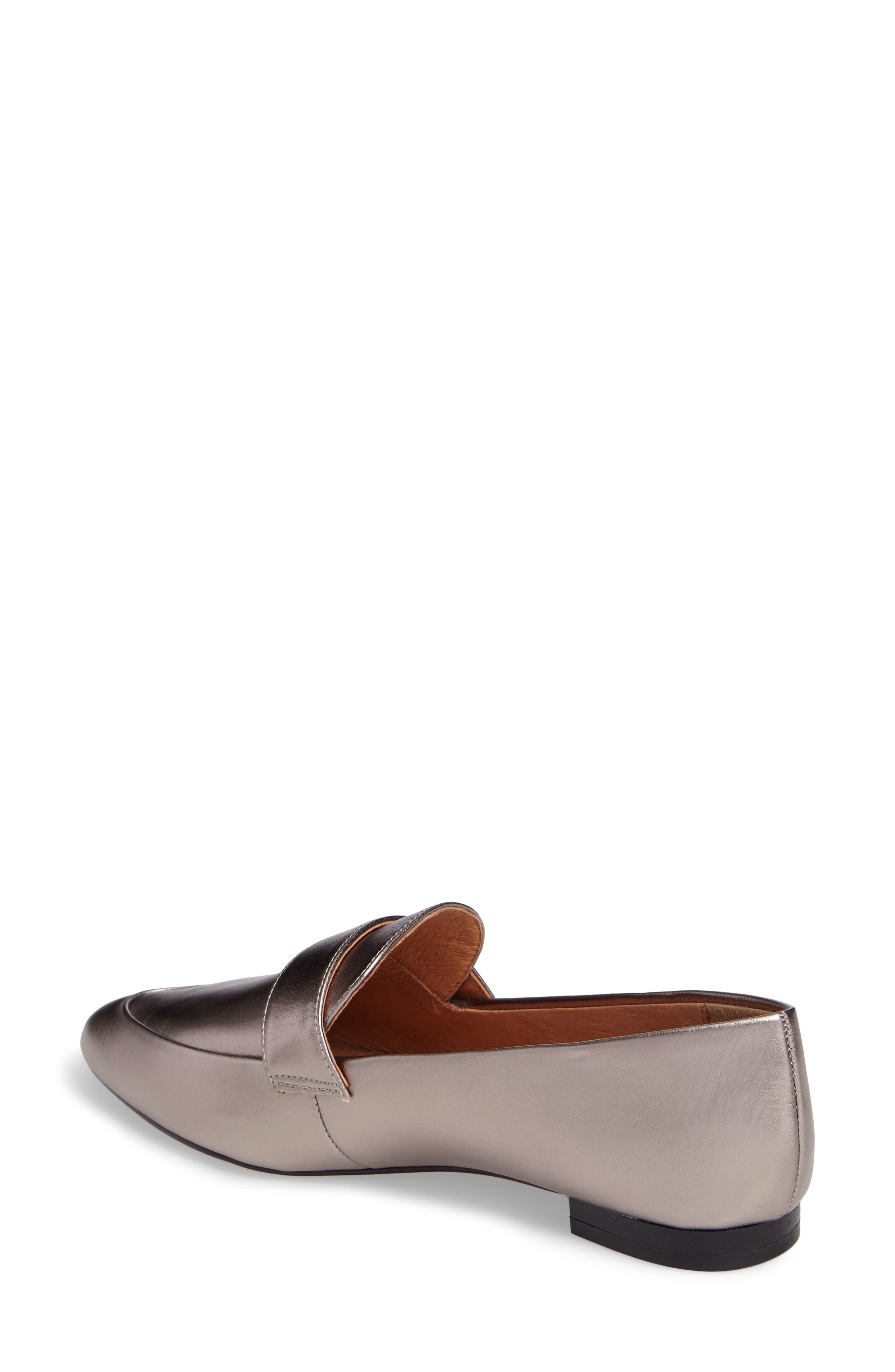 Camille Loafer,                             Alternate thumbnail 2, color,                             Pewter Metallic Leather