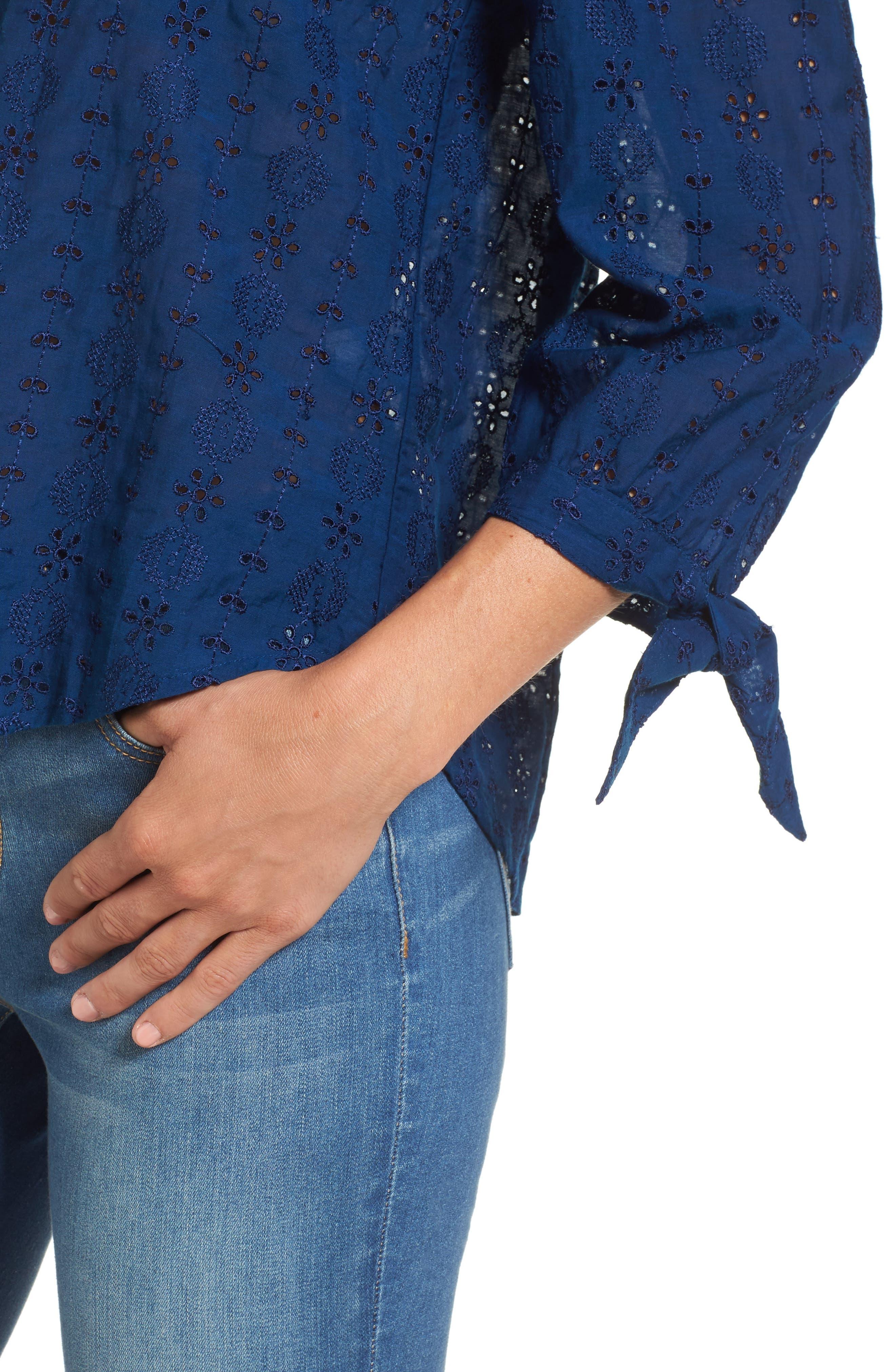 Alternate Image 4  - Lucky Brand Schiffli Off the Shoulder Top