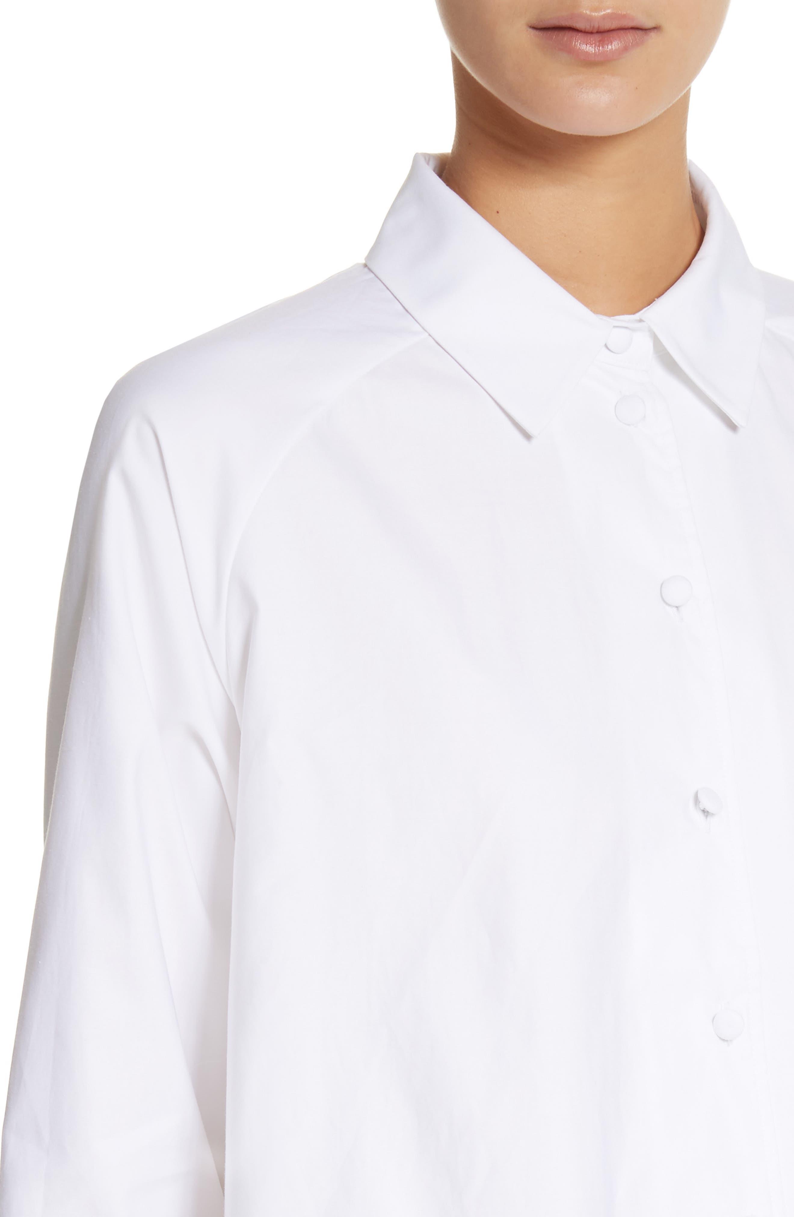 Cotton Poplin Top,                             Alternate thumbnail 4, color,                             White