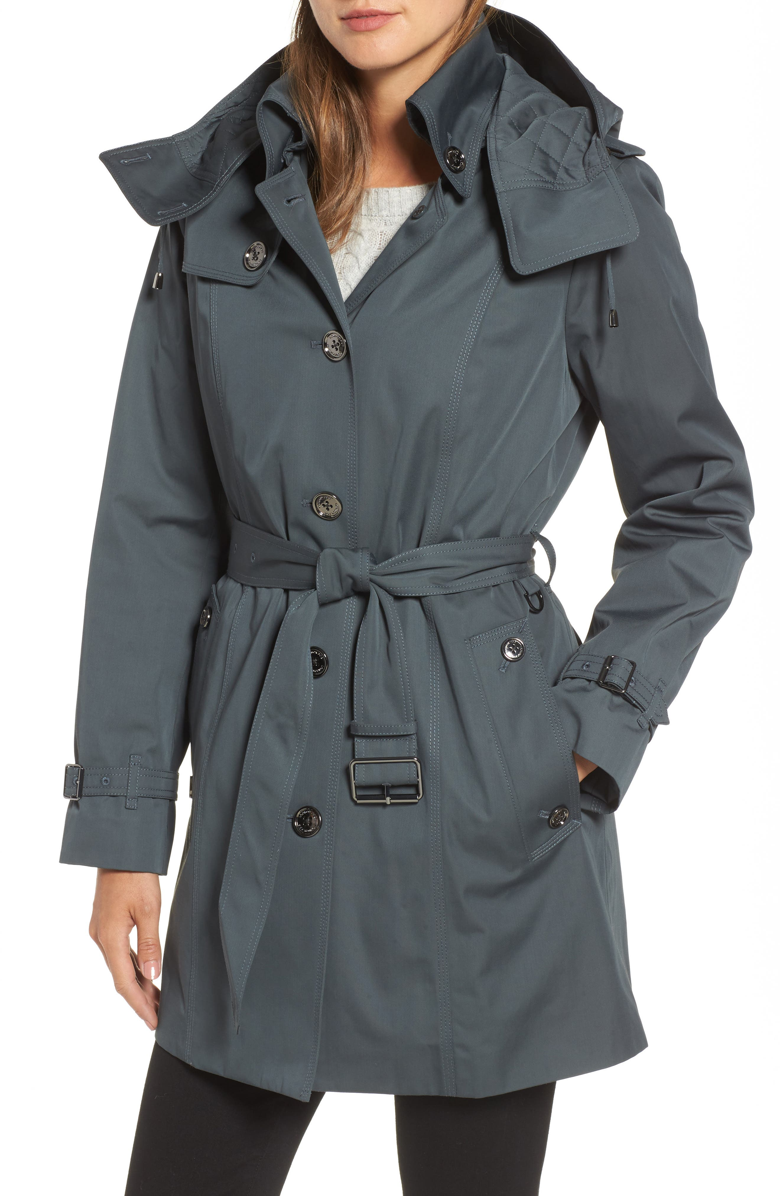 Short Trench Coat,                         Main,                         color, Slate