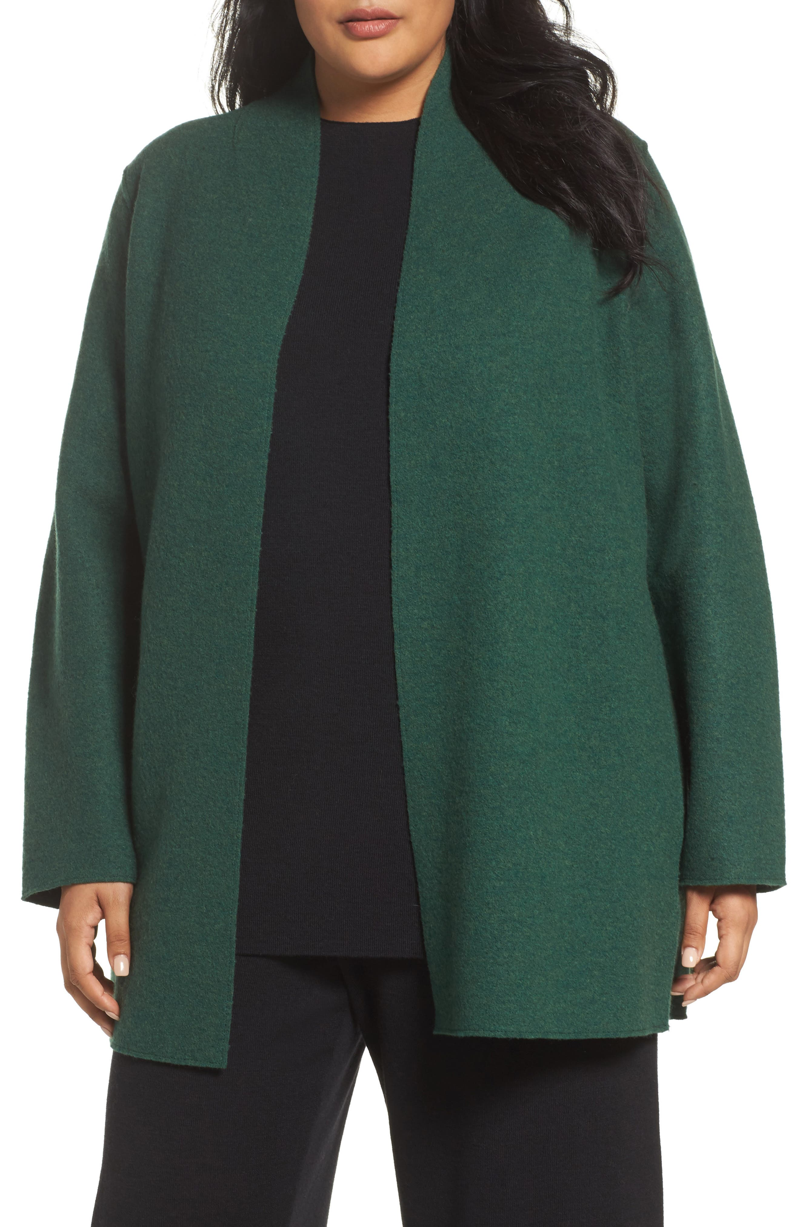 Alternate Image 1 Selected - Eileen Fisher Boiled Wool Jacket (Plus Size)