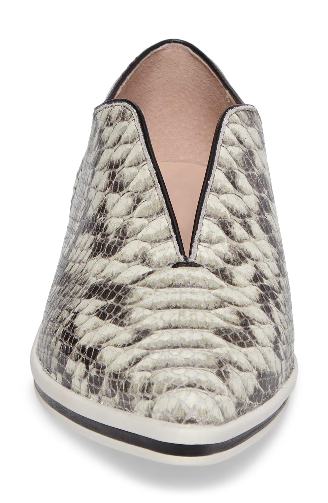 Tisha Slip-On Sneaker,                             Alternate thumbnail 4, color,                             Natural Embossed Leather