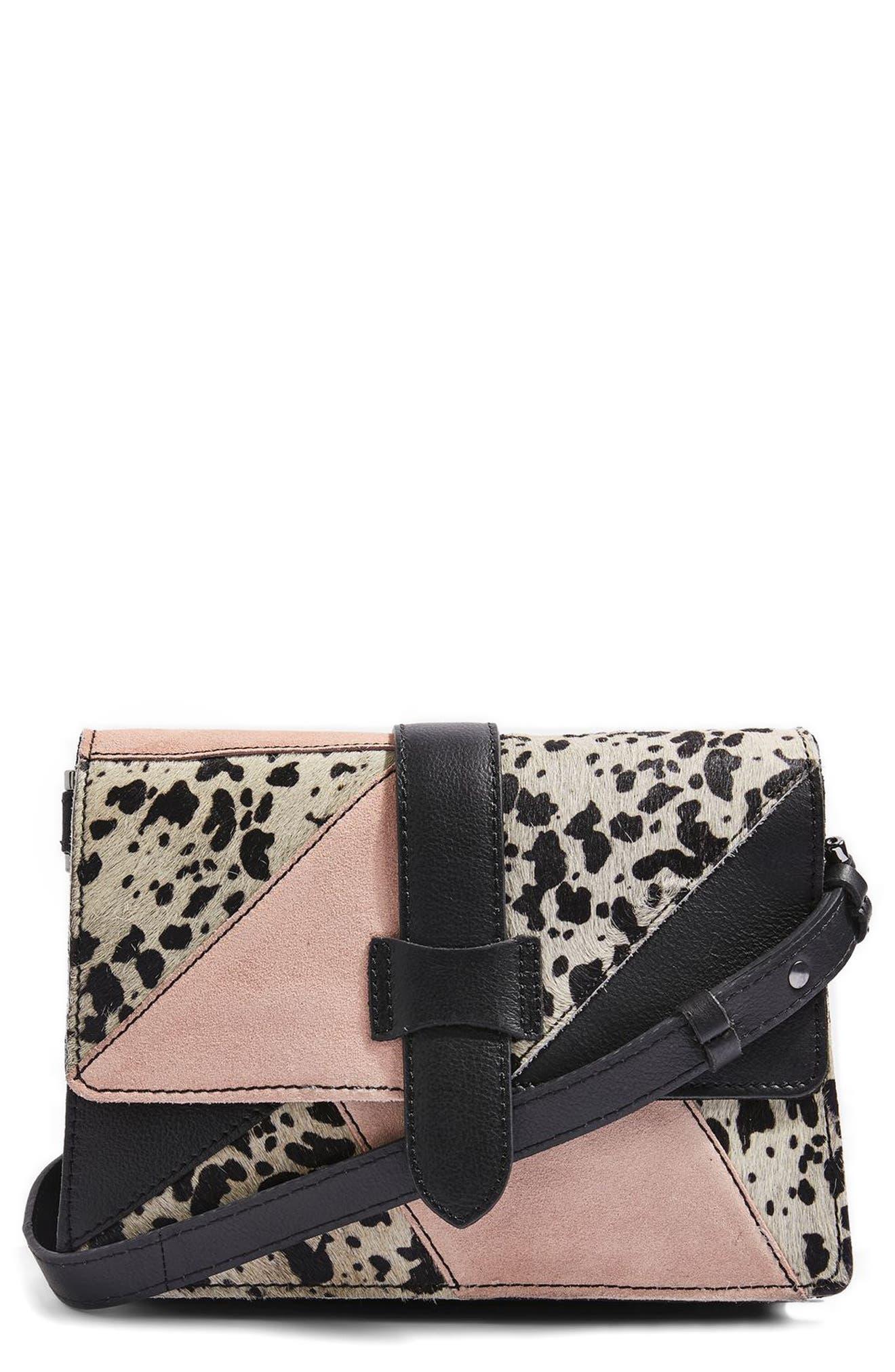 Main Image - Topshop Premium Leather & Genuine Calf Hair Patchwork Crossbody Bag