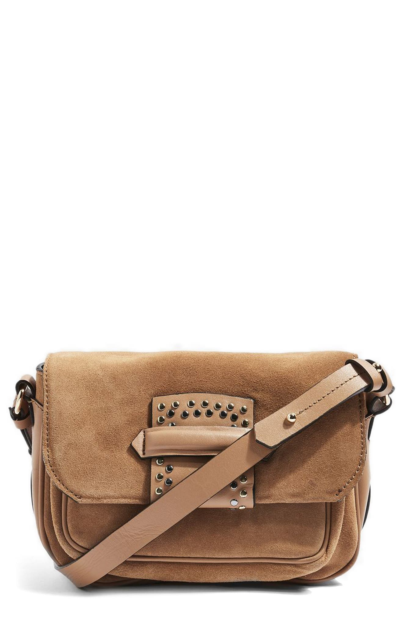 Topshop Premium Leather & Suede Crossbody Bag