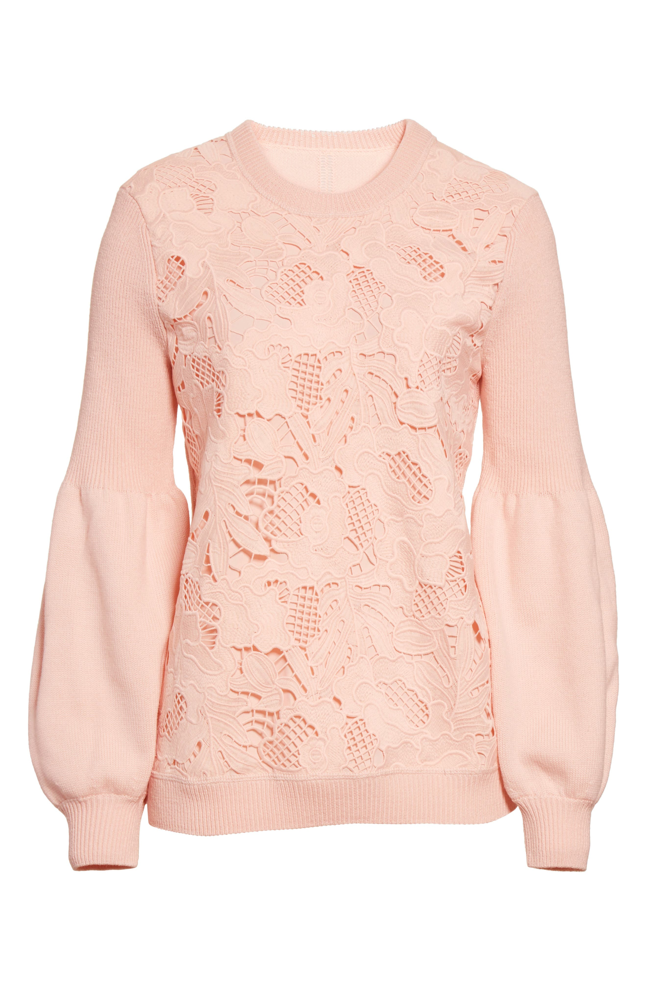 Lace Trim Puff Sleeve Sweater,                             Alternate thumbnail 7, color,                             Blush