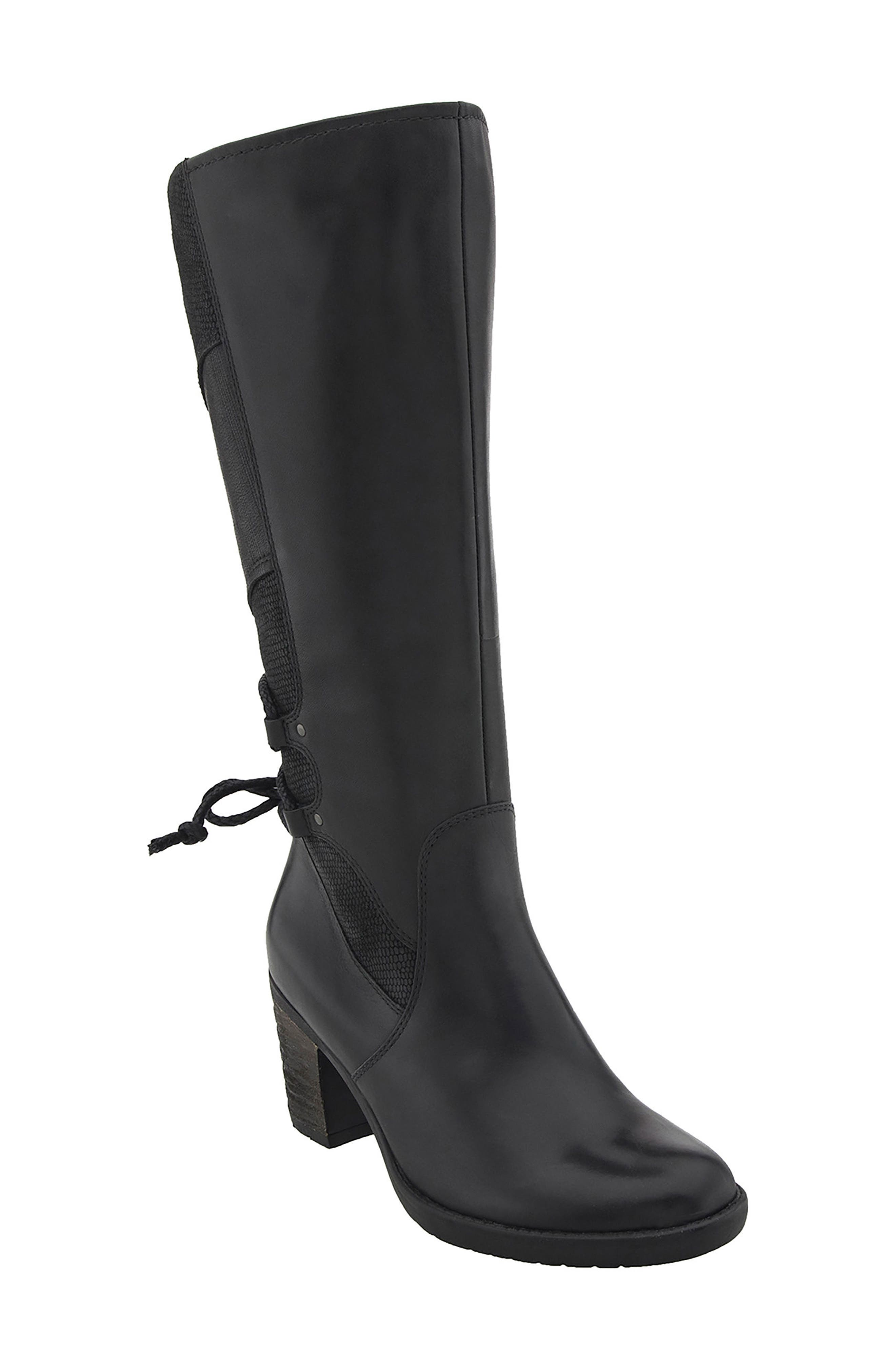 Miles Tall Boot,                         Main,                         color, Black Leather