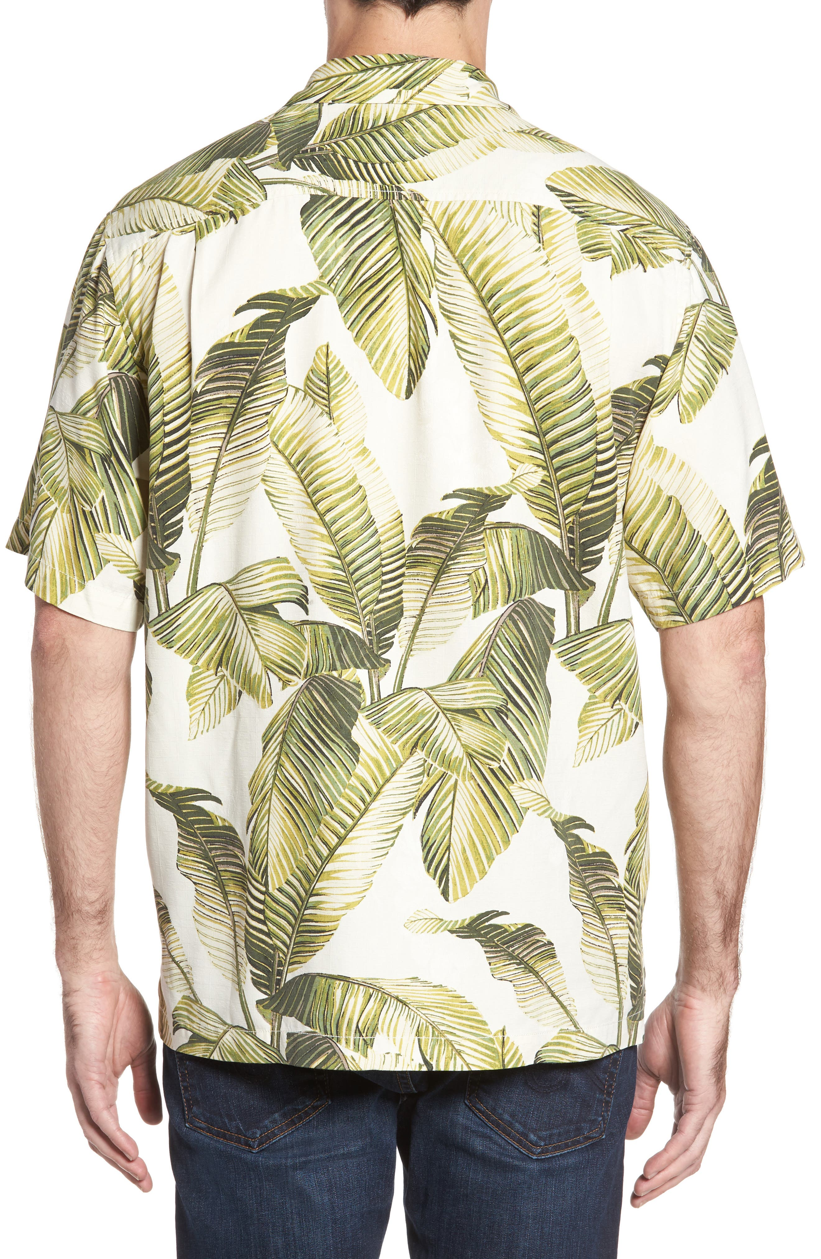 Cascara Fronds Classic Fit Silk Camp Shirt,                             Alternate thumbnail 2, color,                             Coconut Cream