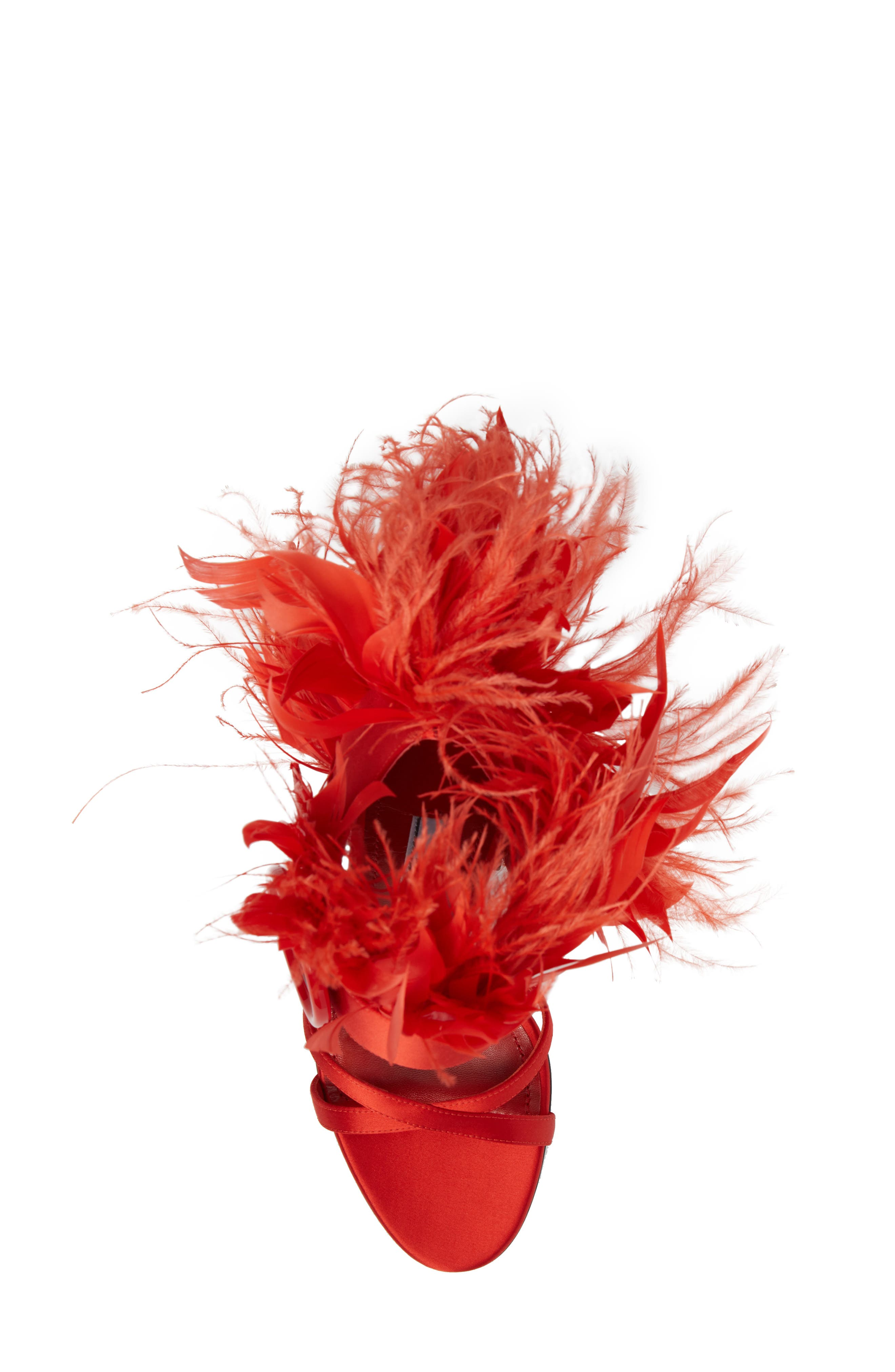 Feather Block Heel Sandal,                             Alternate thumbnail 5, color,                             Red Satin